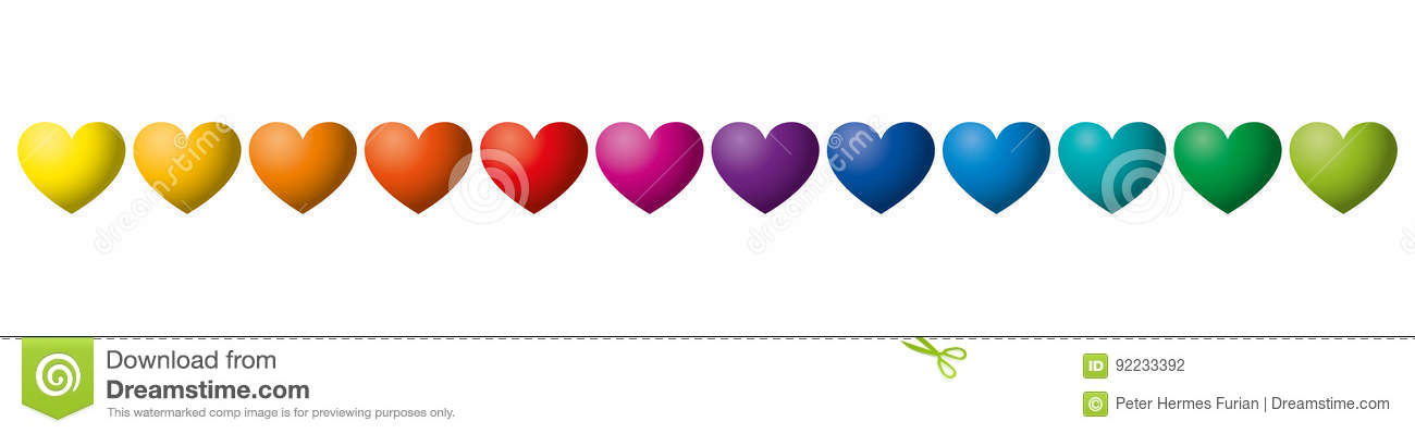 Twelve Rainbow Colored Hearts In A Row Stock Vector Illustration