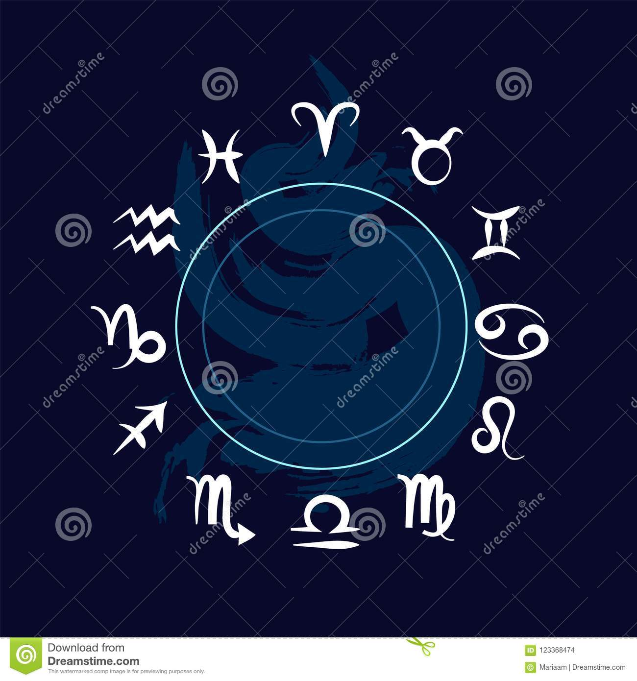 The signs of the zodiac. Horoscope symbols over blue background. Clean vector design.