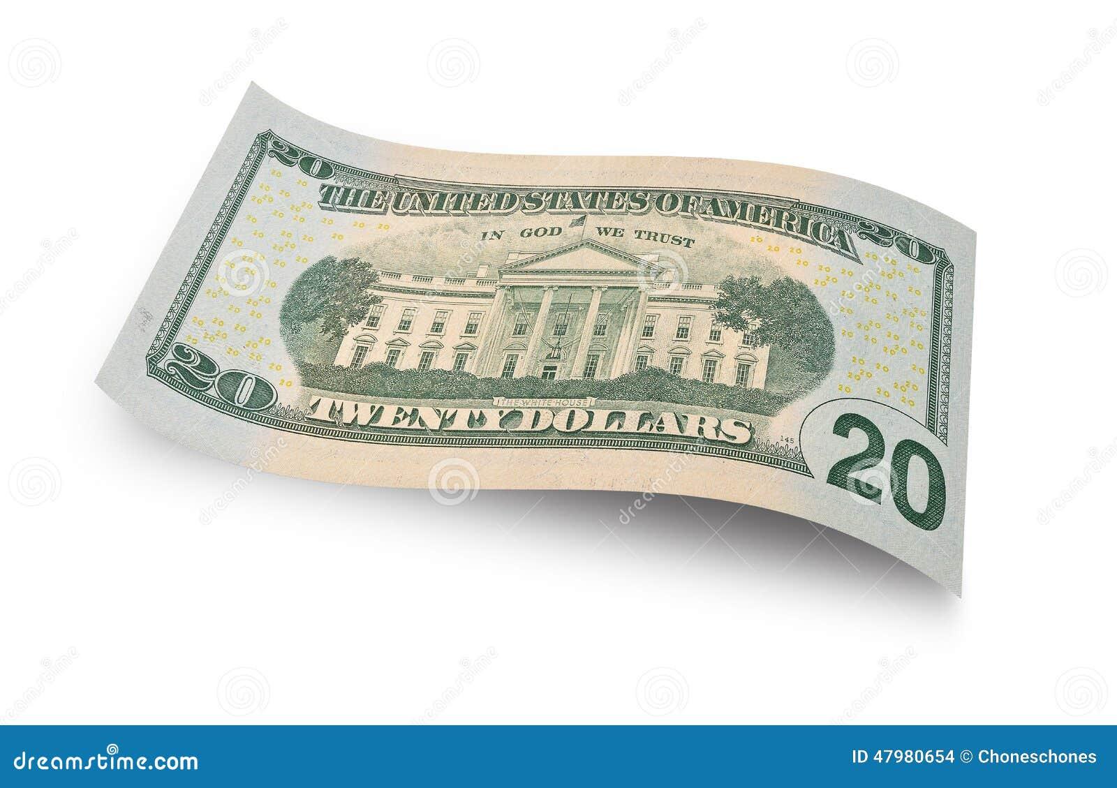 Back Of Twenty Dollar Banknote Isolated On White Background