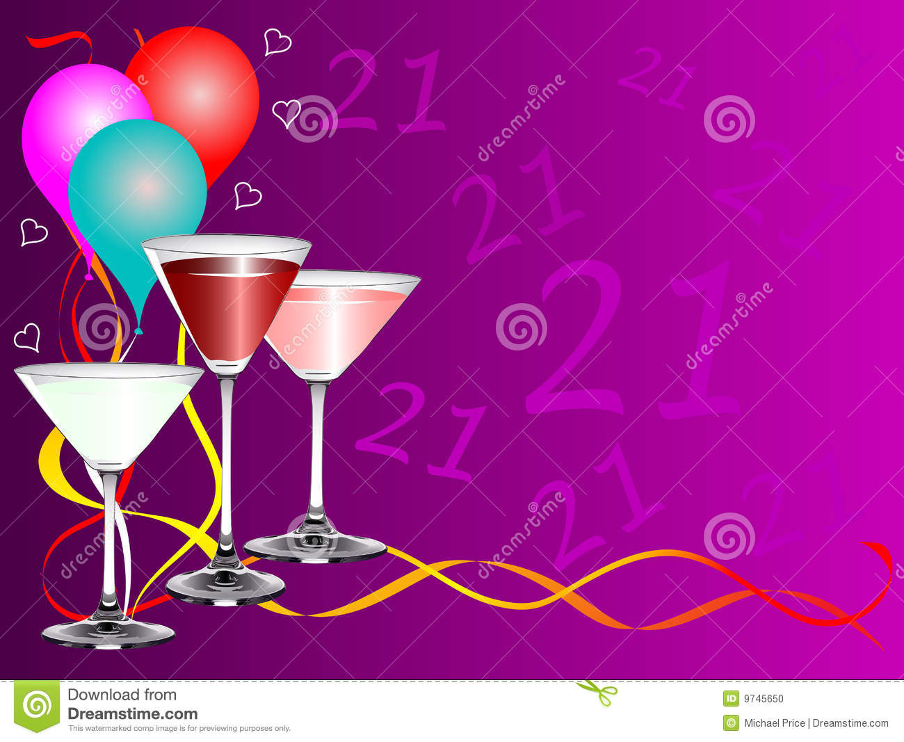 Twenty First Birthday Party Background Template Stock