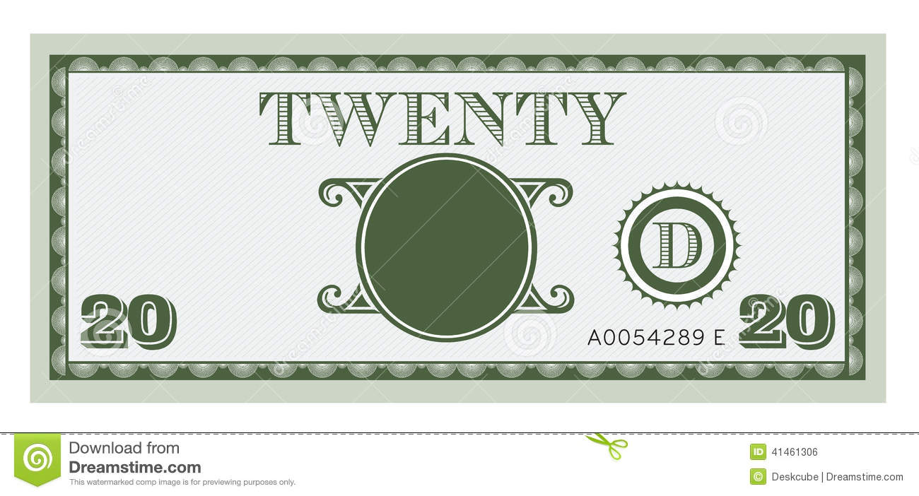 Twenty Money Bill Image. With Space To Add Your Te Stock ...