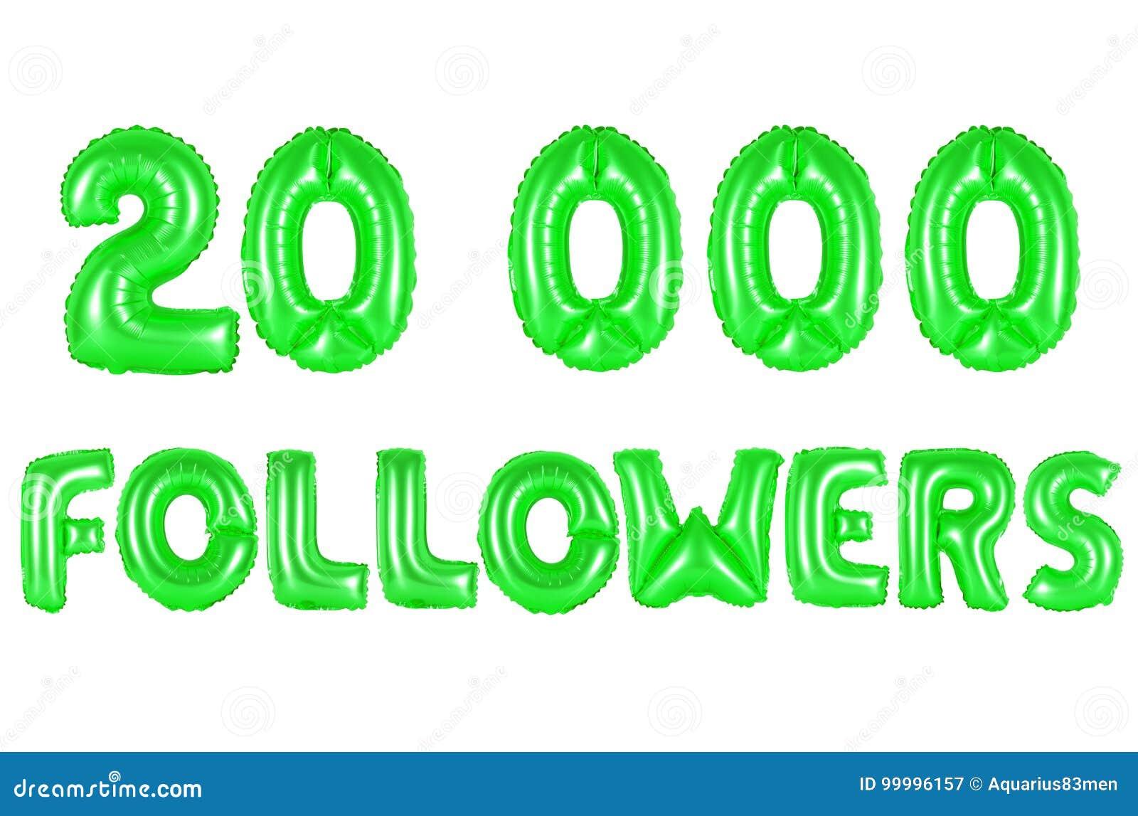 Twenty Thousand Followers, Green Color Stock Image - Image of like ...