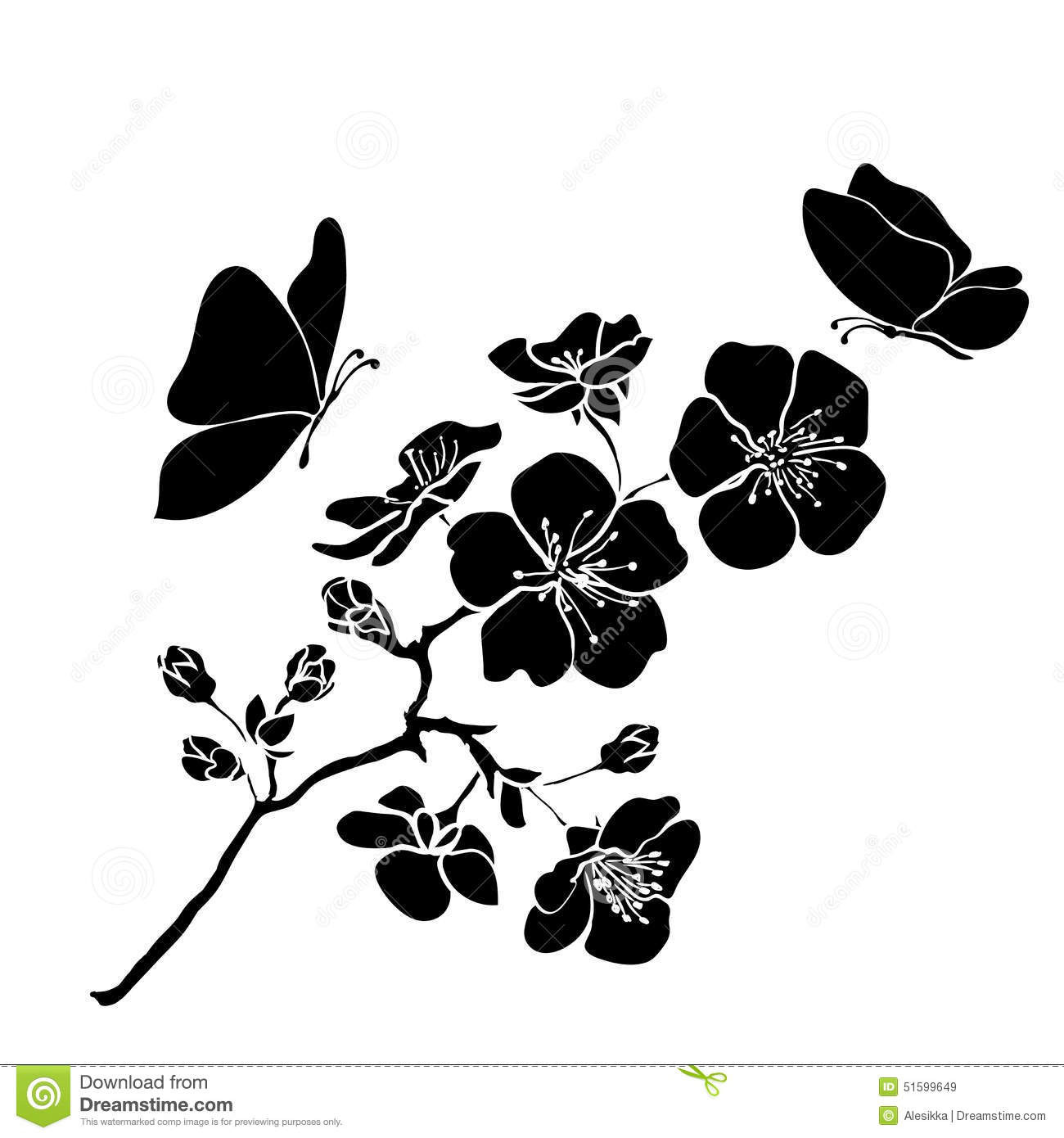 Twig Cherry Blossoms Stock Vector - Image: 51599649