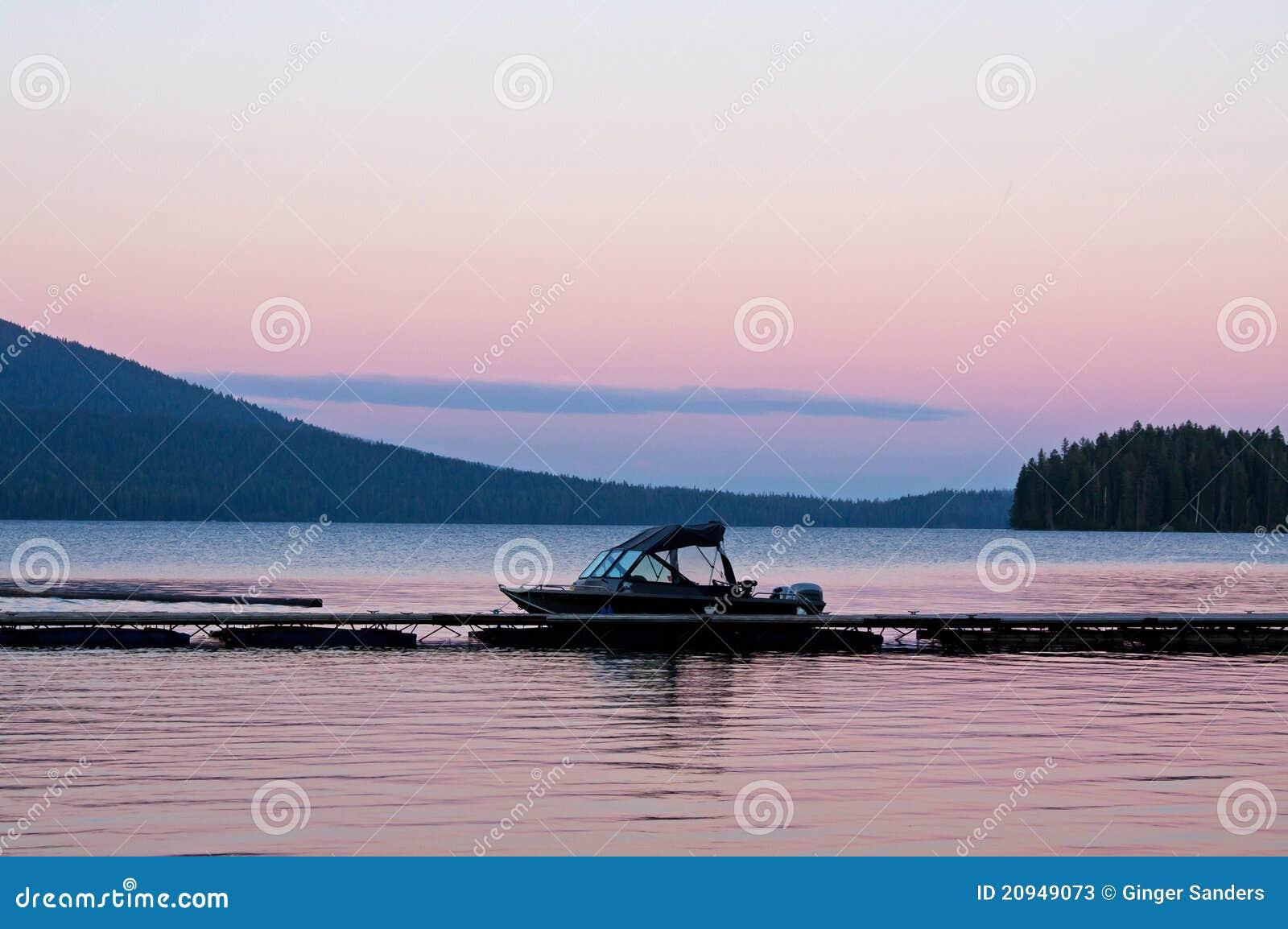 Twilight Boat On Lake