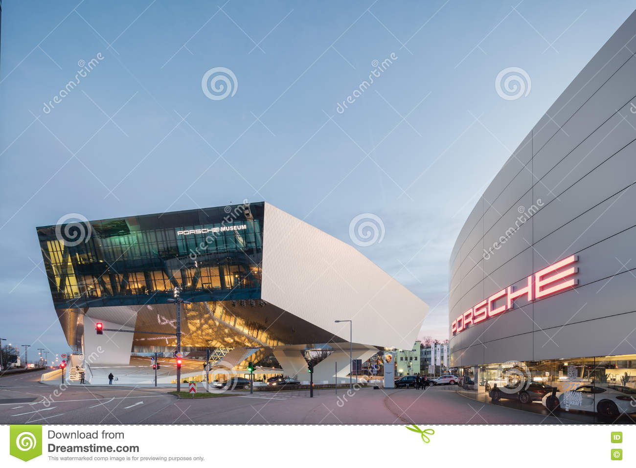 twilight exterior of porsche museum editorial stock image. Black Bedroom Furniture Sets. Home Design Ideas