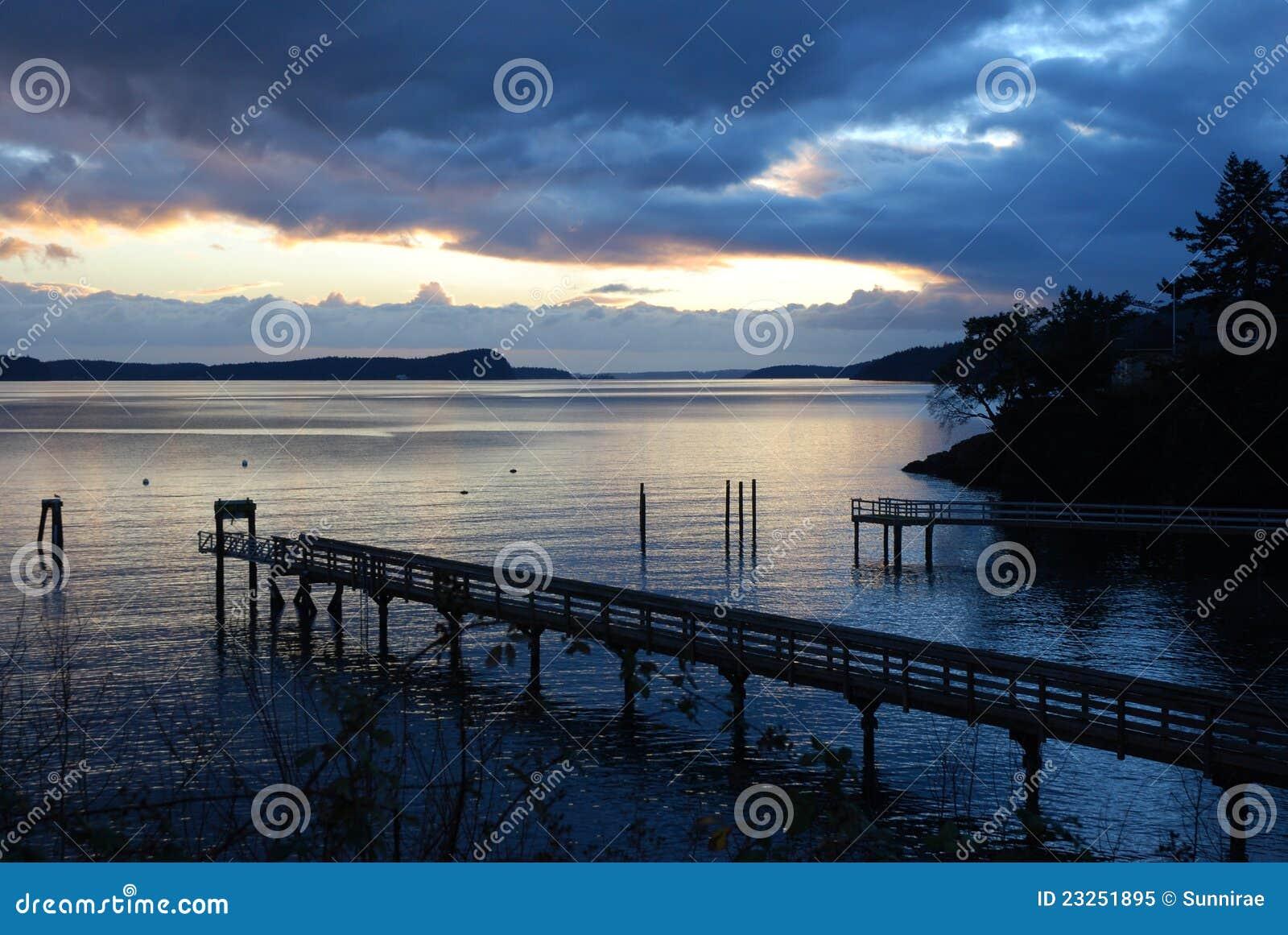 Twilight at Olga Dock on Orcas Island Washington