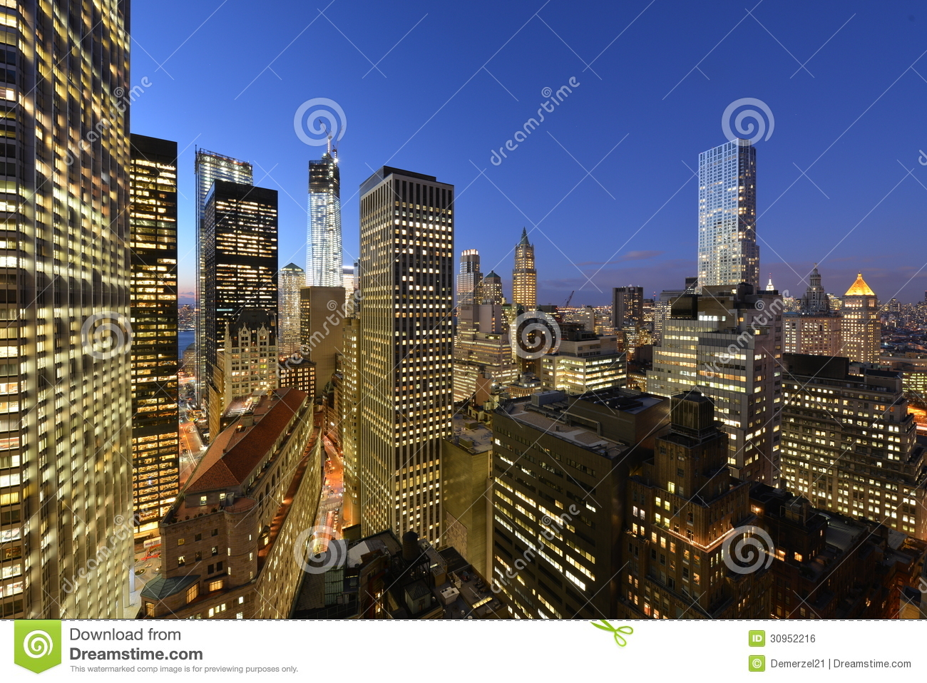 Twilight over lower manhattan royalty free stock image for Iconic new york landmarks