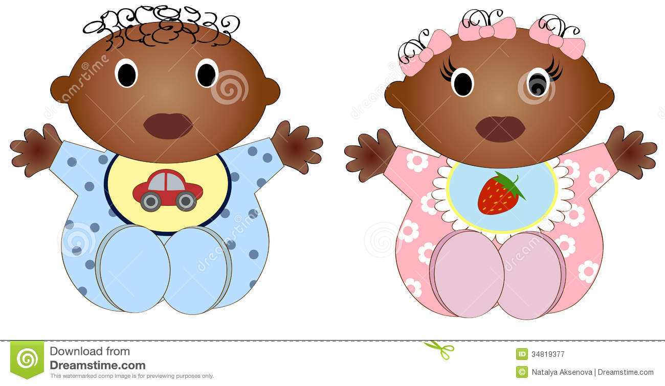 Twin African Baby Boy And Girl.Vector Illustration Stock ...
