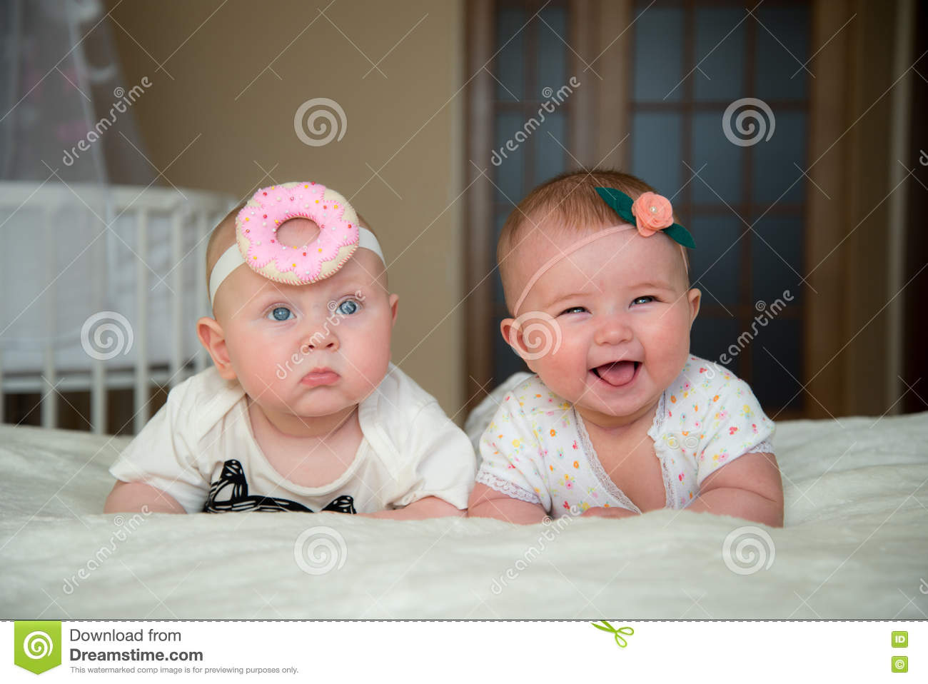 Twin Baby Boy And Girl Lie On The Bed Stock Image Image Of Newborn