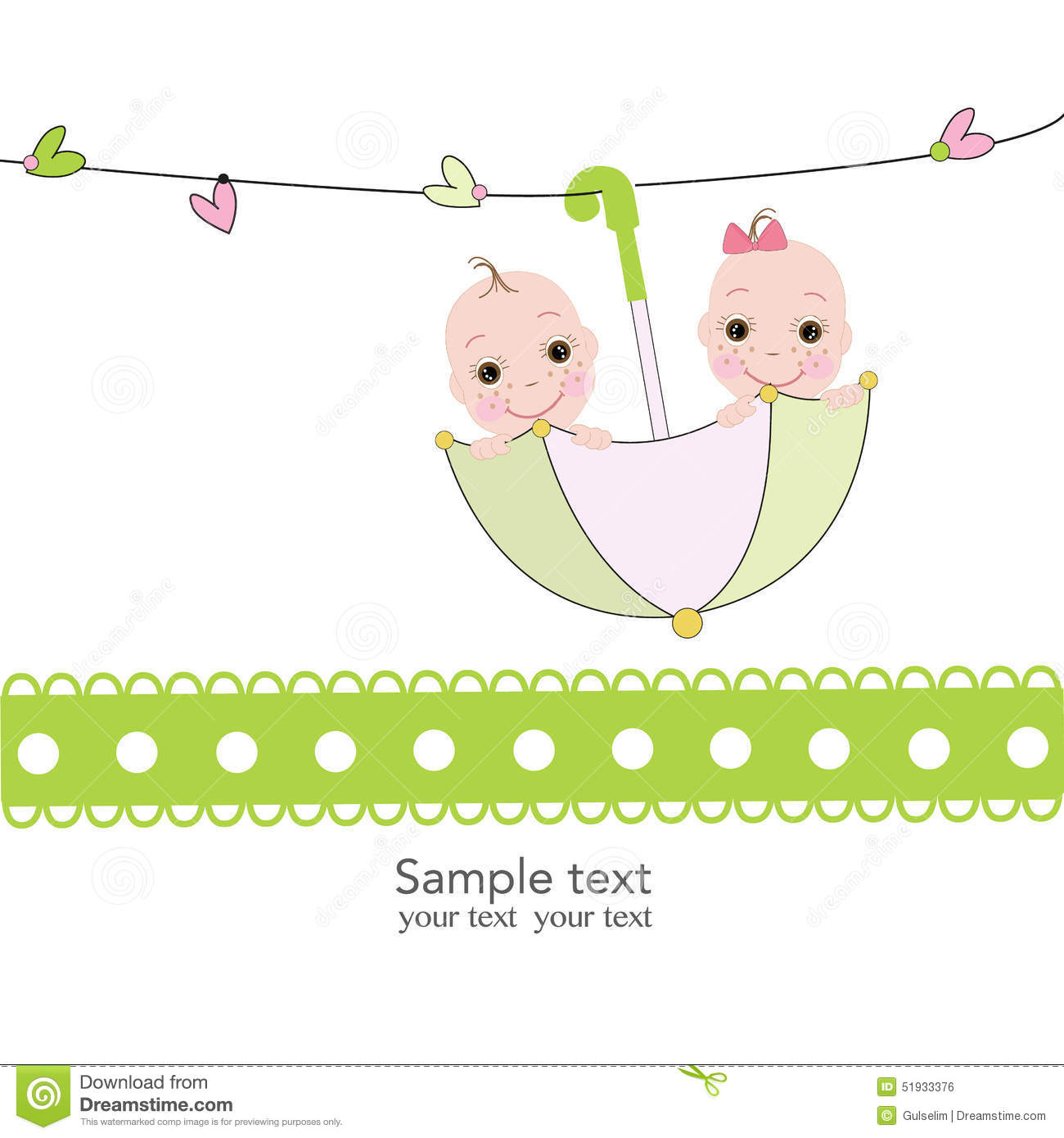 Twin Baby Boy And Girl With Umbrella Baby Shower Card Stock Vector