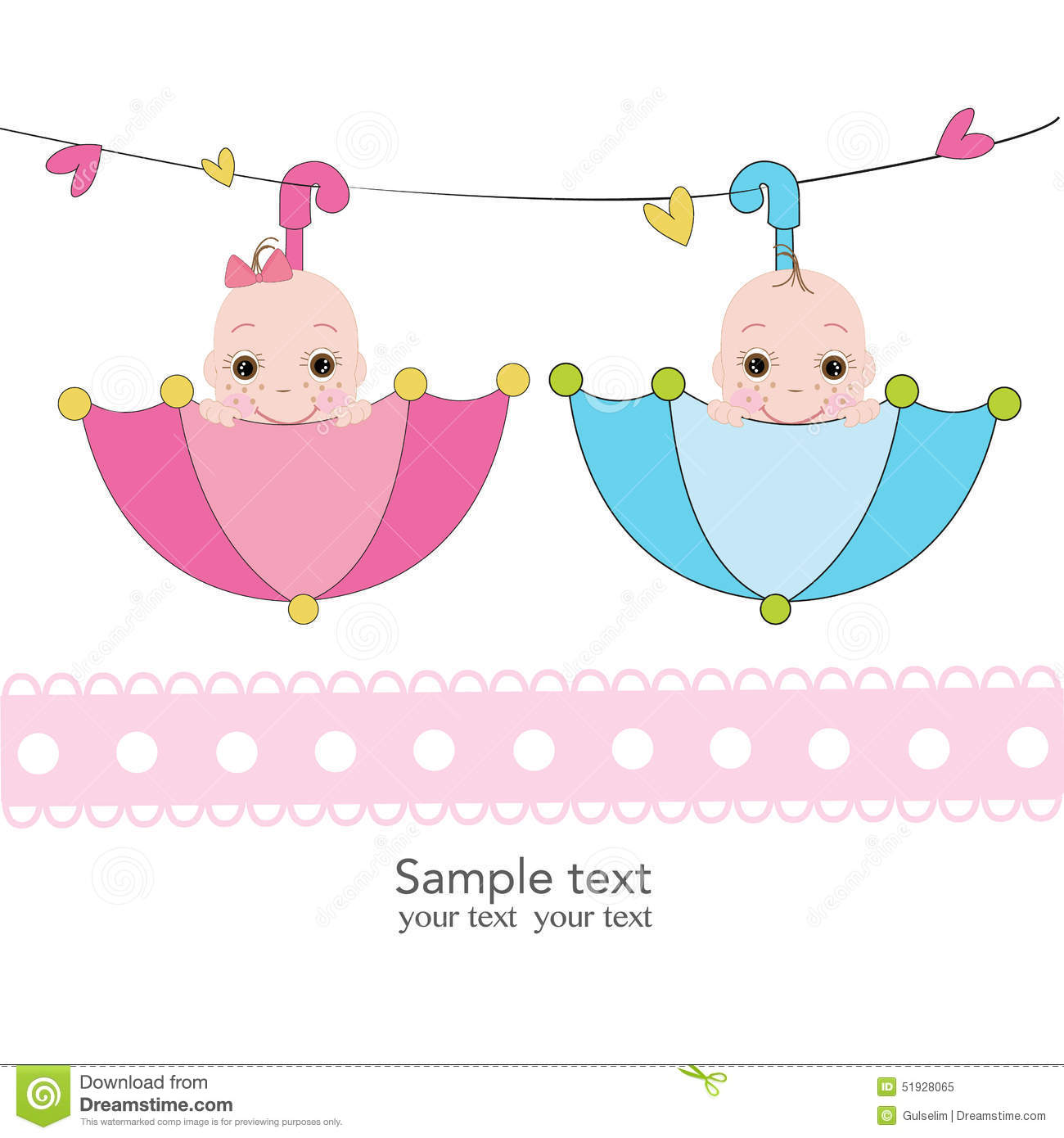 Twin Baby Boy And Girl With Umbrella Greeting Card Stock