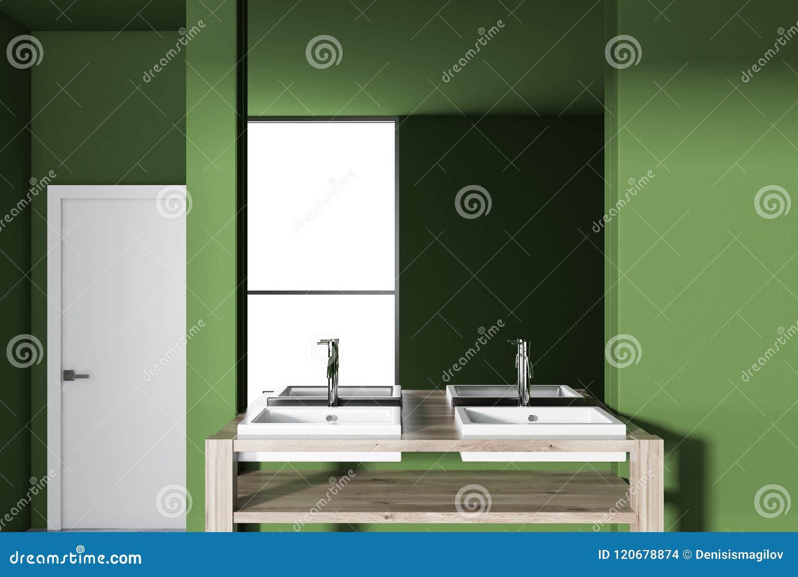 Twin Bathroom Vessel Sink Wooden Countertop Green Stock