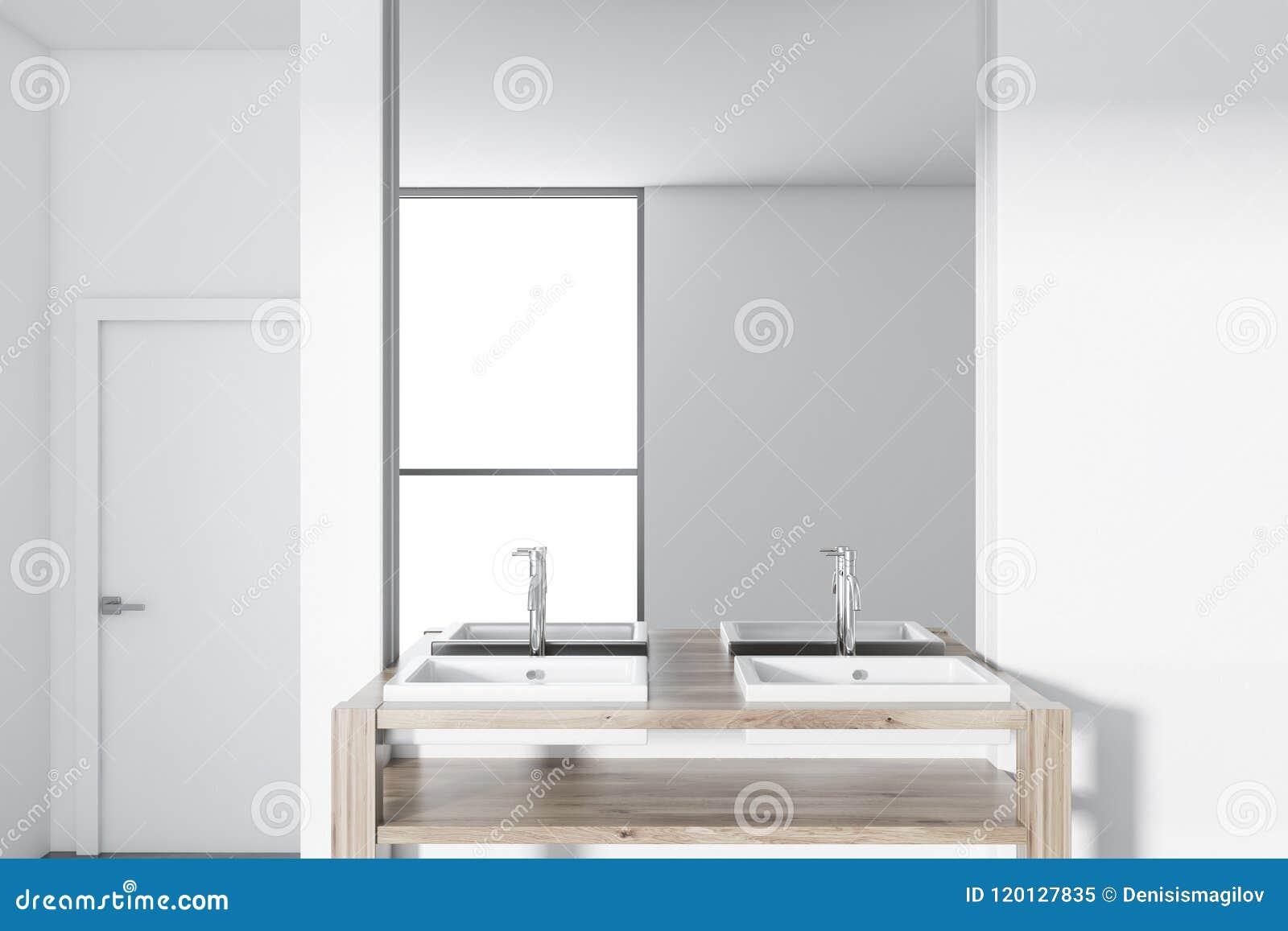 Twin Bathroom Vessel Sink Wooden Countertop Stock Image Image Of