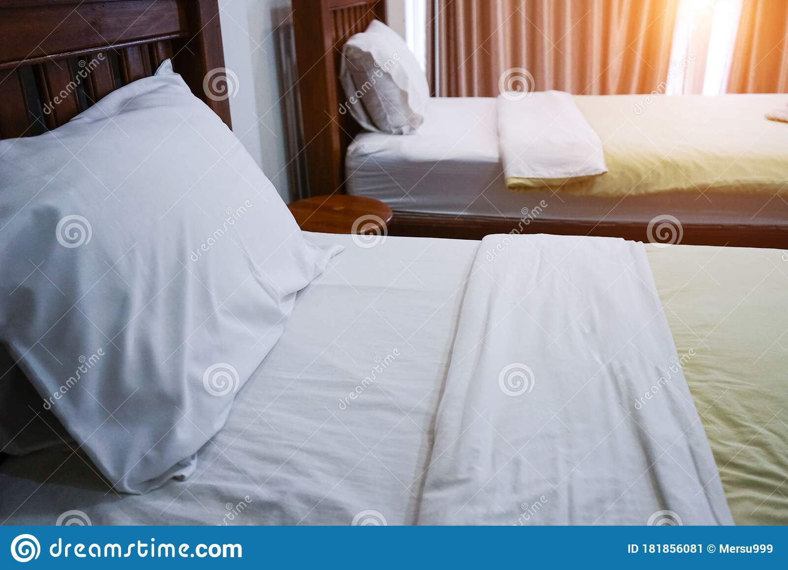 Picture of: Twin Bed With Wood Headboard Stock Image Image Of Home Household 181856081
