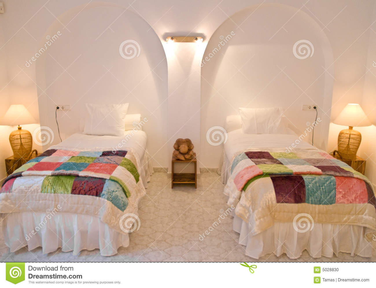 Twin Bedroom Interior Stock Photo - Image: 5028830