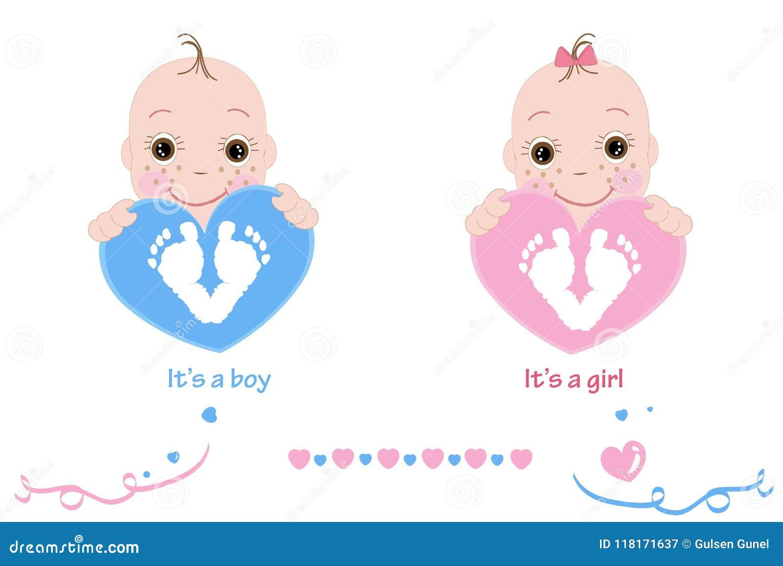 Twin behandla som ett barn flickan och pojken Behandla som ett barn fot och handtrycket Behandla som ett barn rosa färger för ank