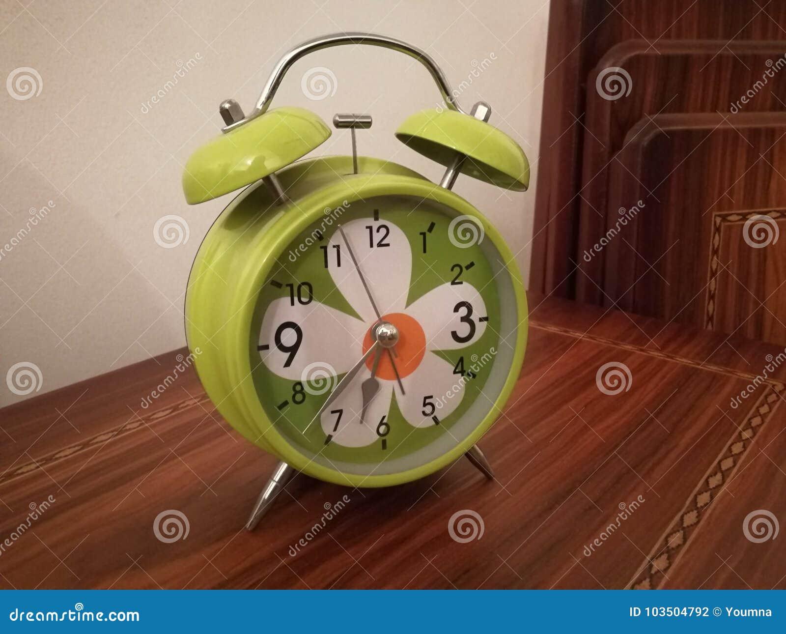Twin bell alarm clock stock photo  Image of green, twin