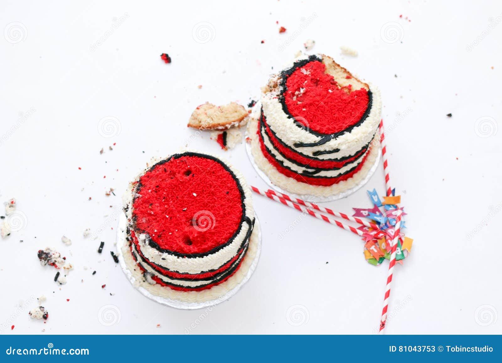 Fantastic Twin Birthday Cake Smash Stock Image Image Of Flour 81043753 Personalised Birthday Cards Veneteletsinfo