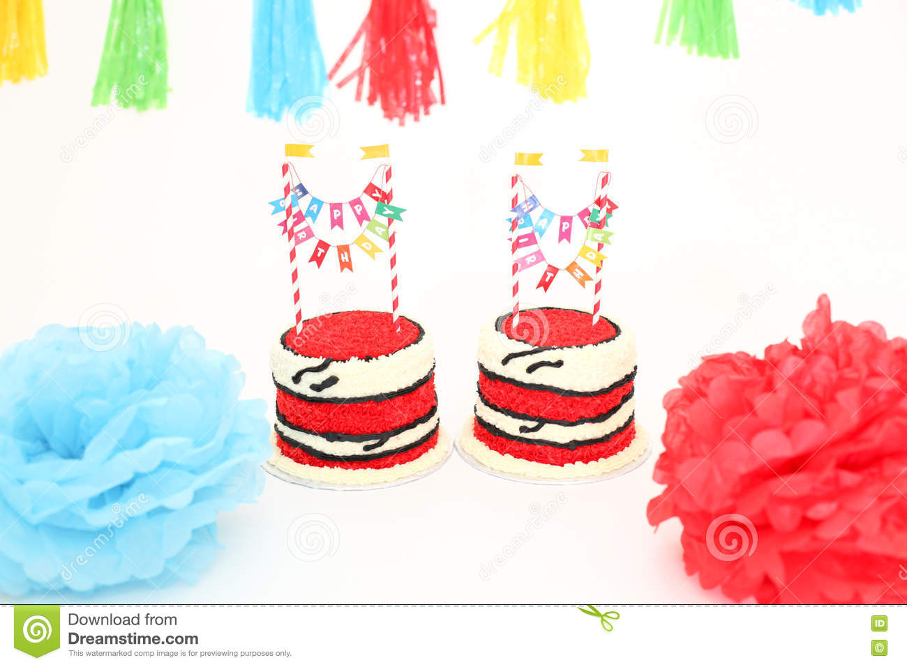 Twin Birthday Cakes With Banners