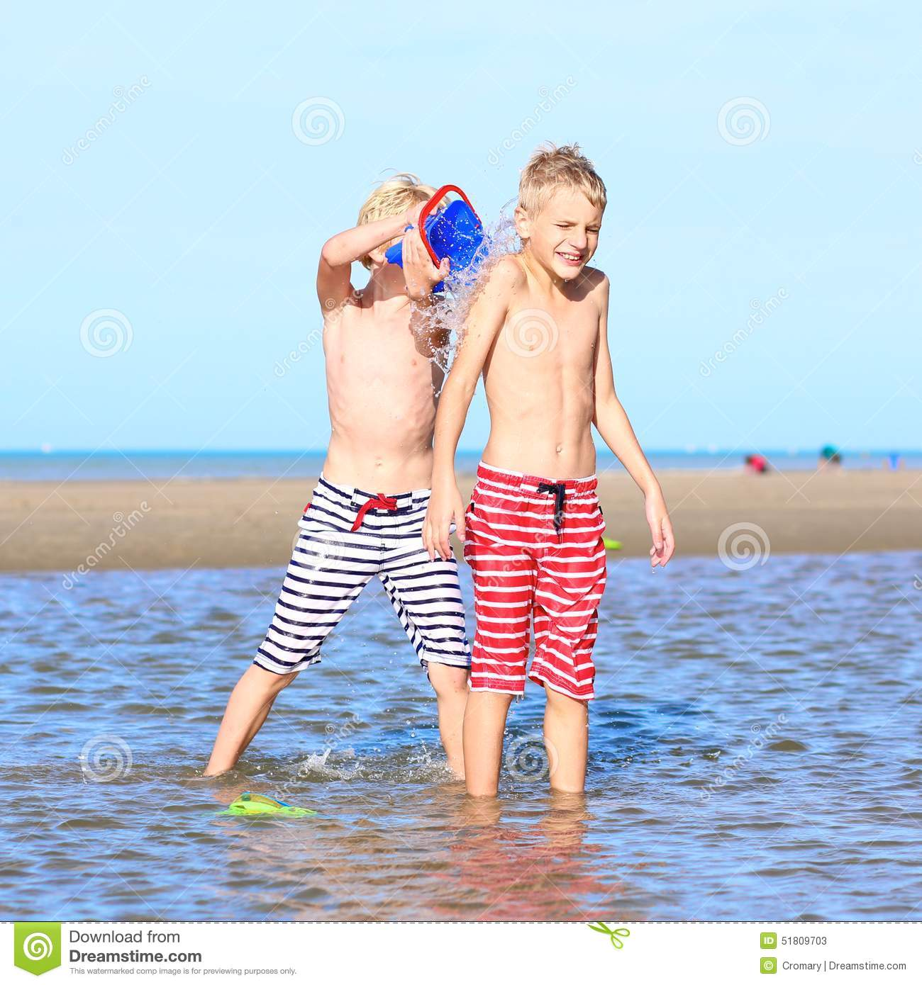 Download Twin Brothers Playing On The Beach Stock Image - Image of playful, childhood: 51809703