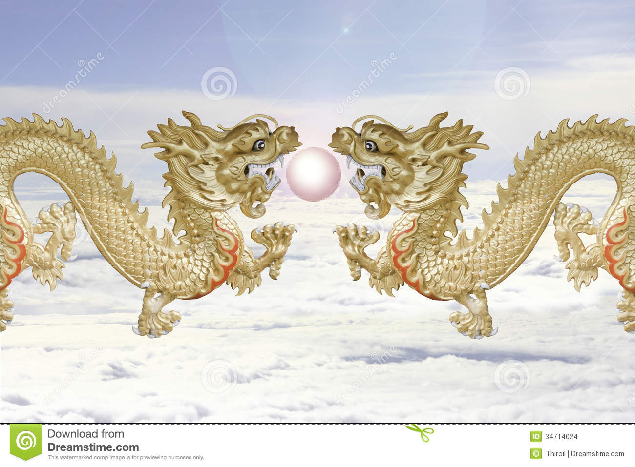 The Twin Dragons And Fire Ball. Stock Images - Image: 34714024