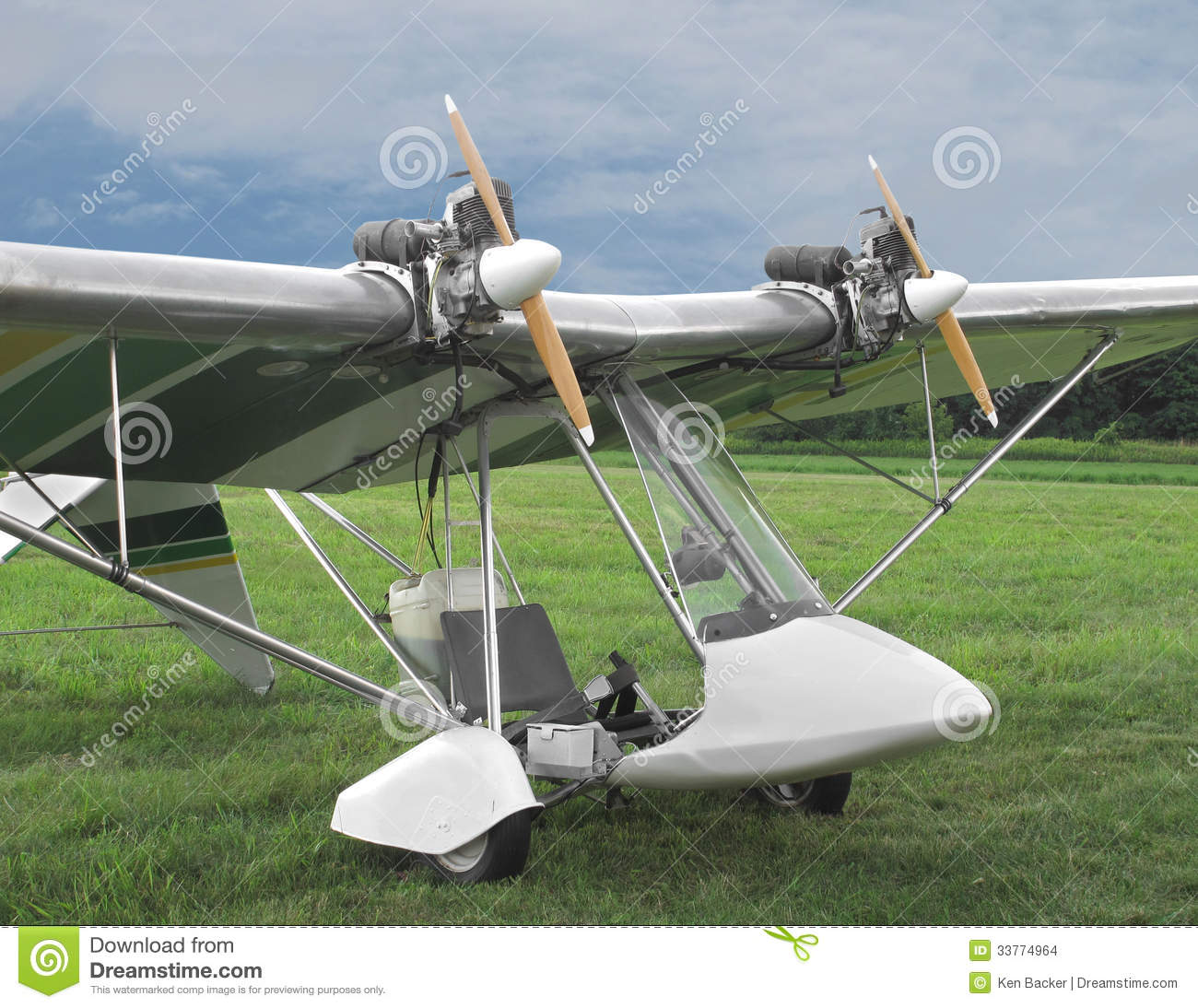Twin Engine Ultralight Aircraft Stock Photo Image Of Up