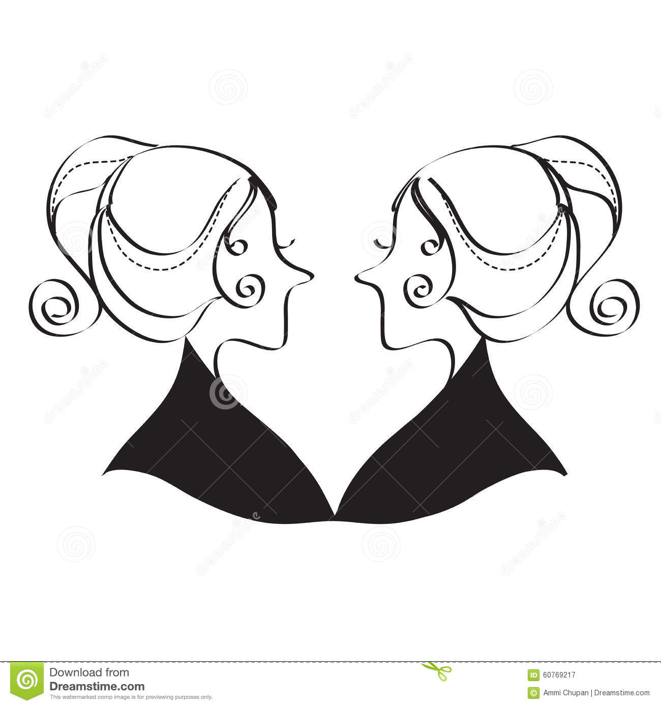Line Art Styles : Twin girls black and white line art style stock vector