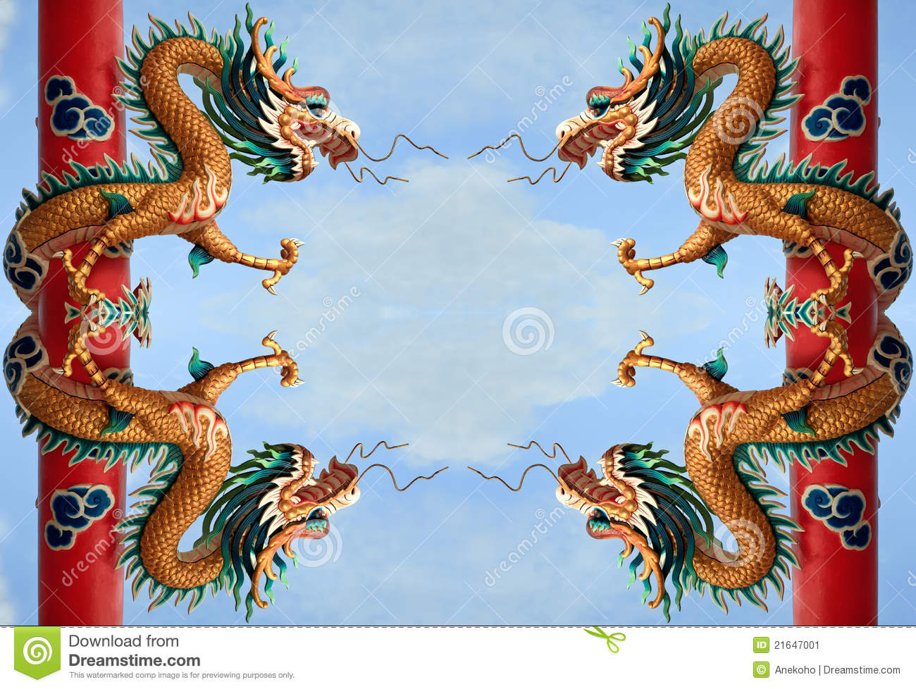 Twin Golden Chinese Dragon