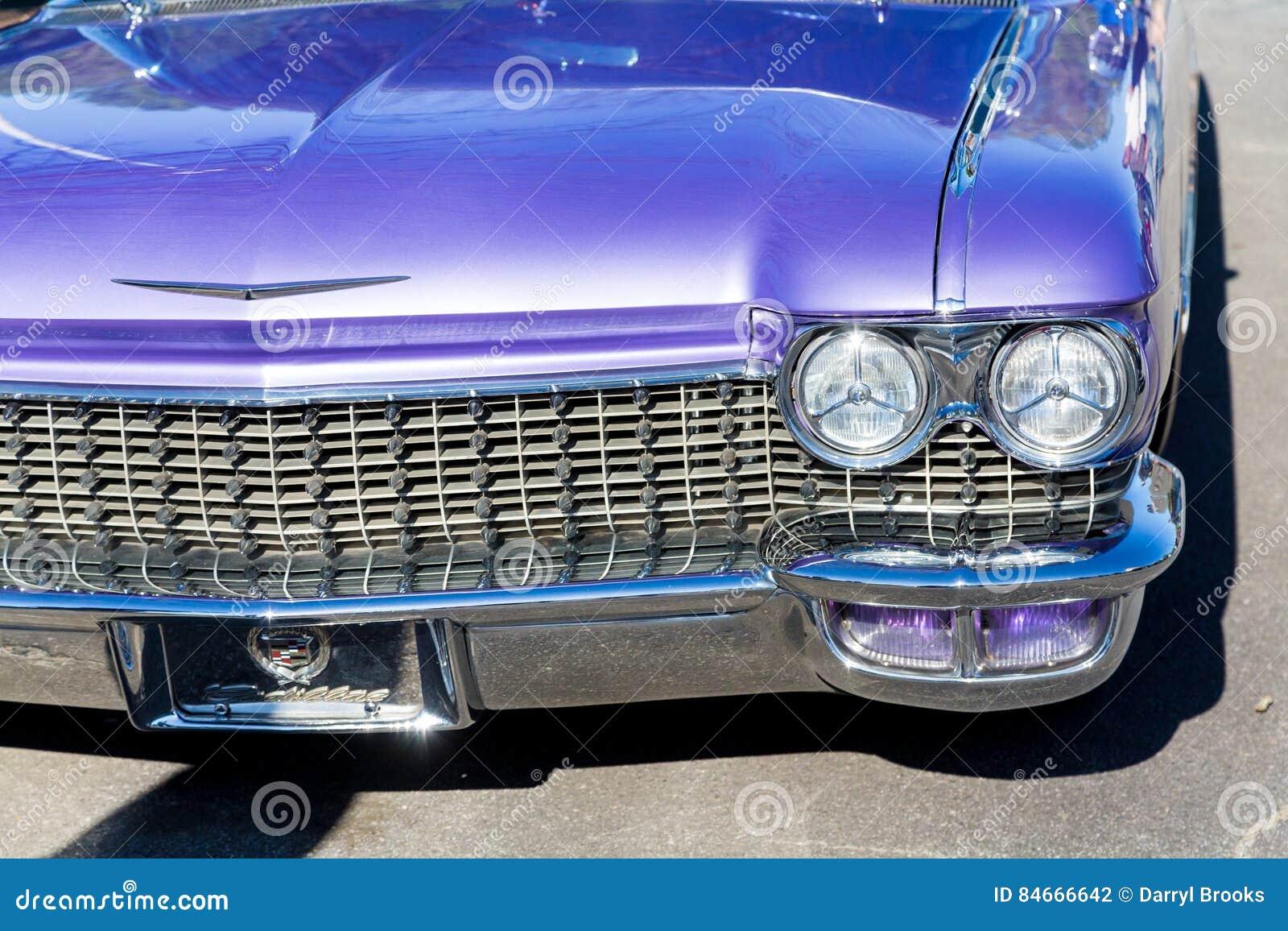Twin Headlights On Purple Caddy Editorial Photography Image Of - Classic car show atlanta