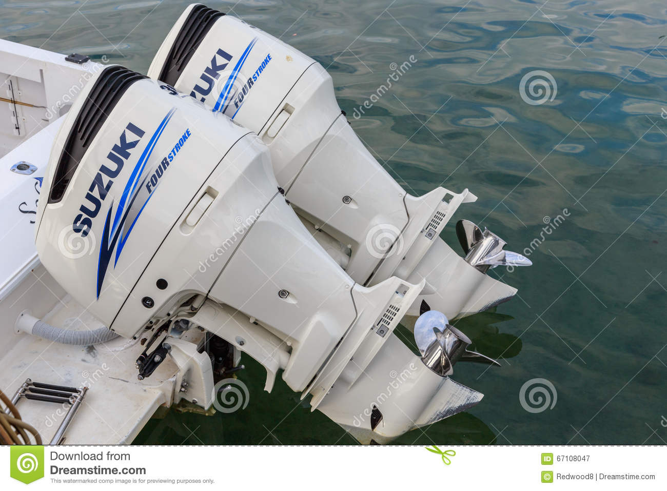 Twin 300 HP Suzuki Four Stroke Outboard Motors Editorial Photography