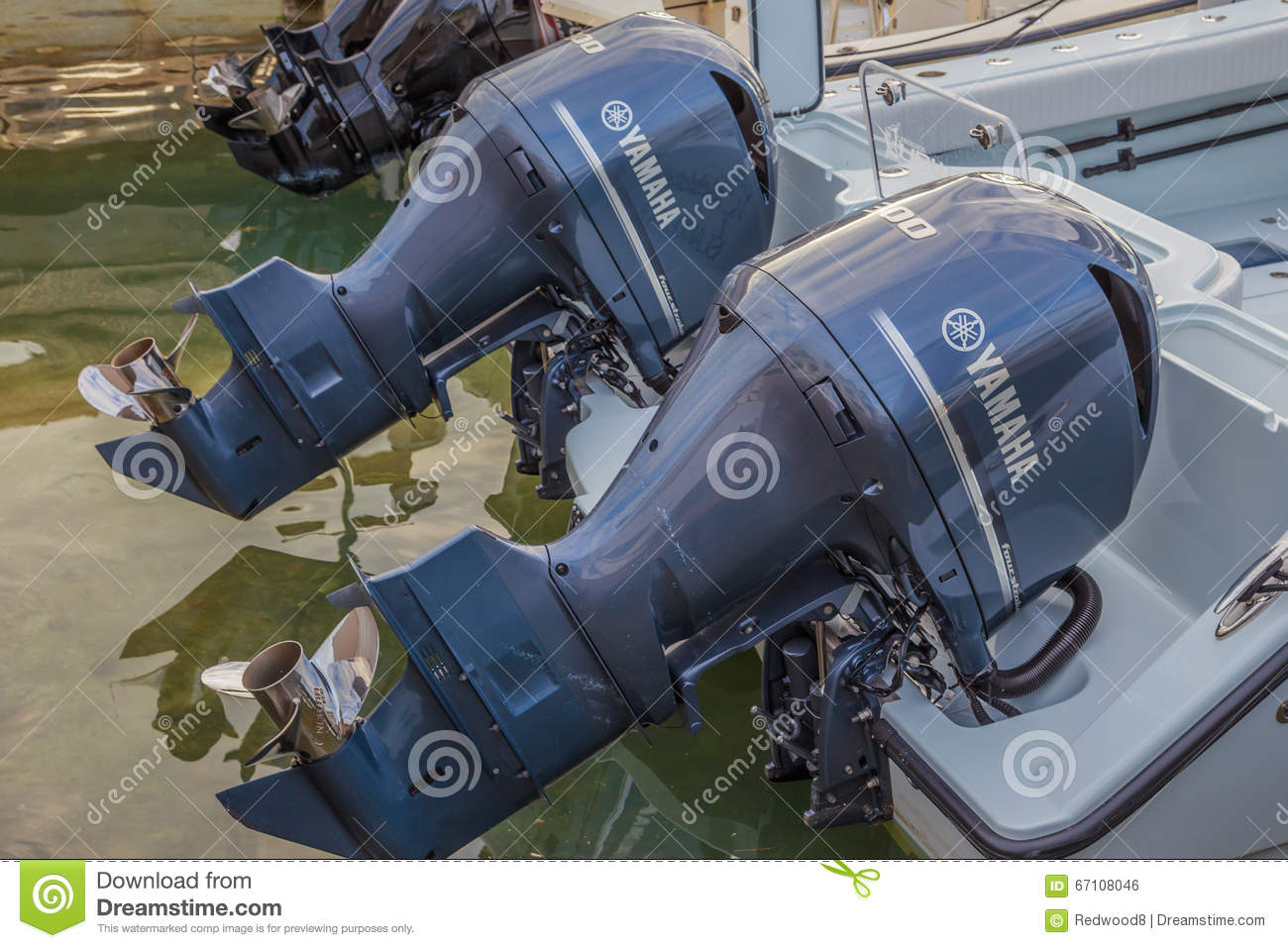 Twin 300 HP Yamaha Four Stroke Outboard Motors Editorial