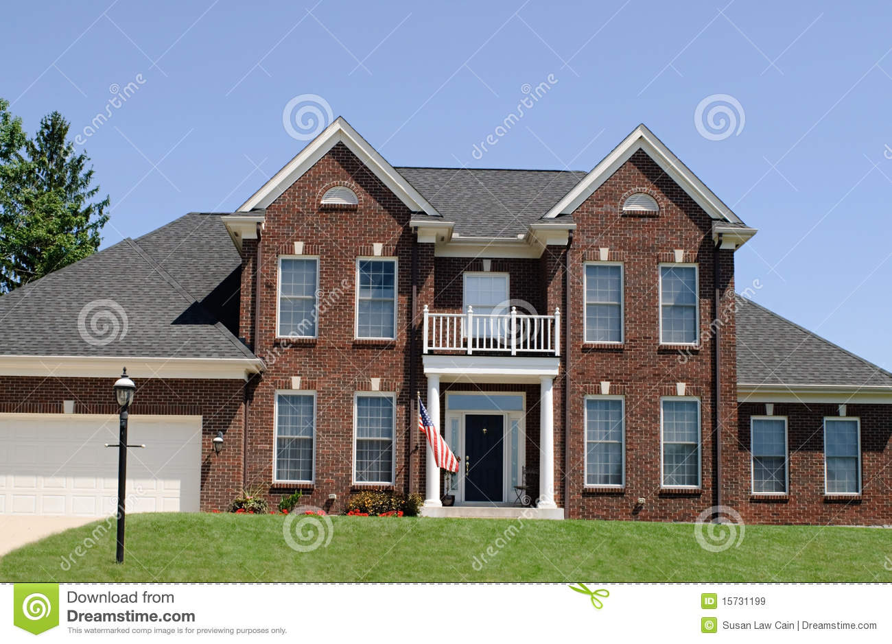 American Red Brick Two Story House Exterior With Garage