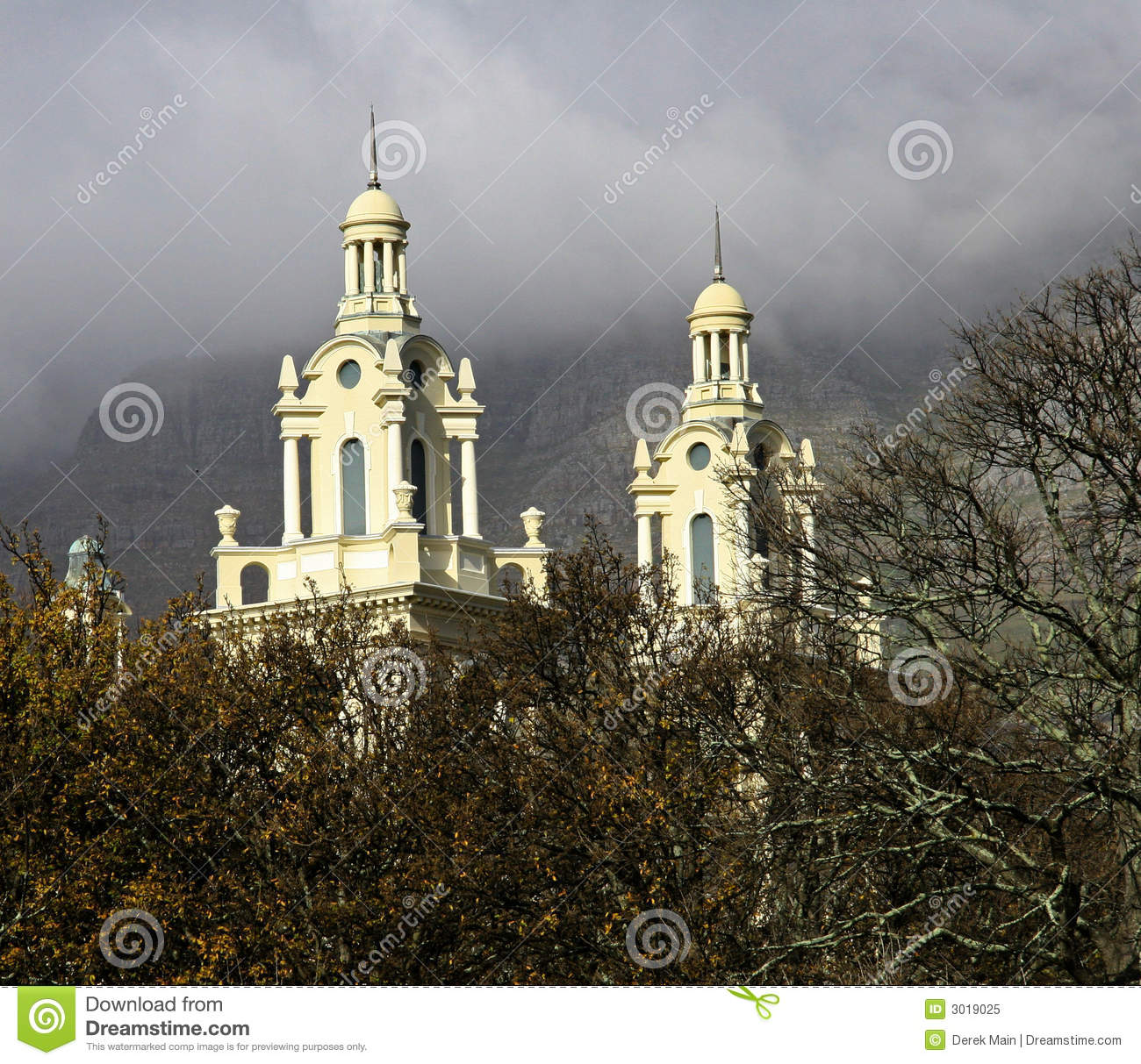 Twin steeples peeping out