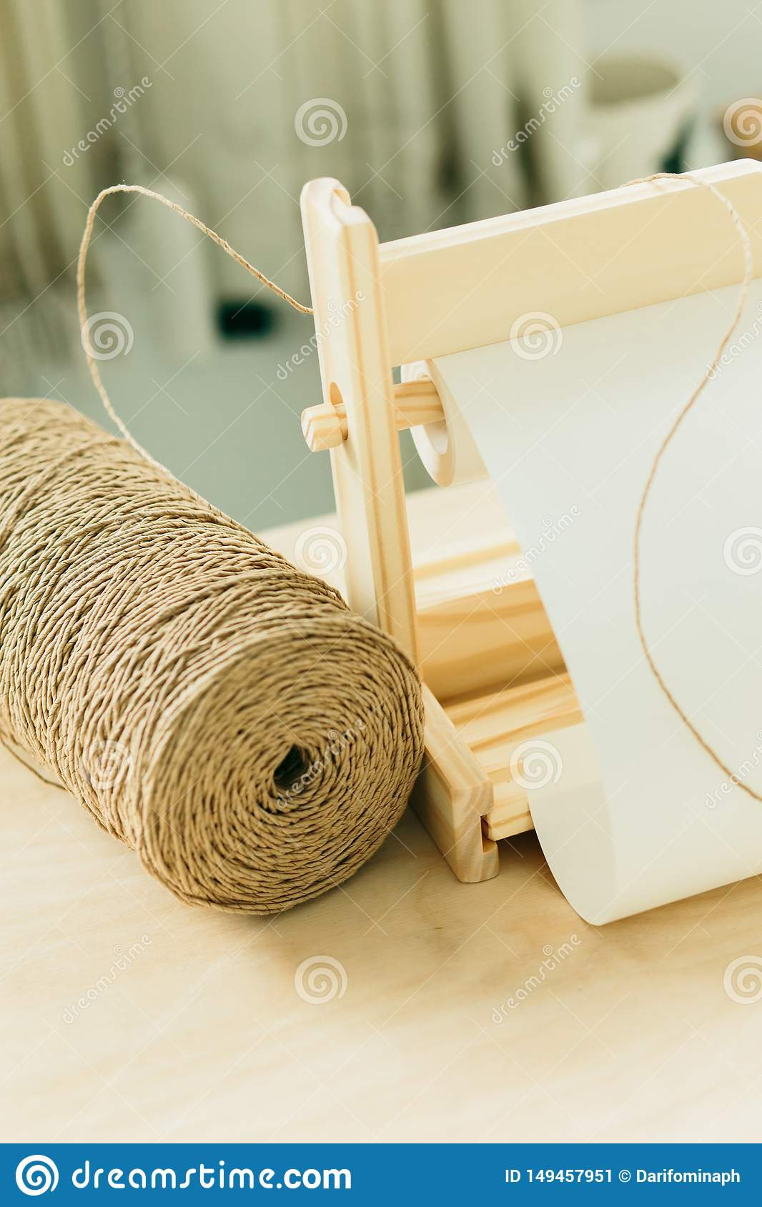 Twine and white paper for gift wrapping