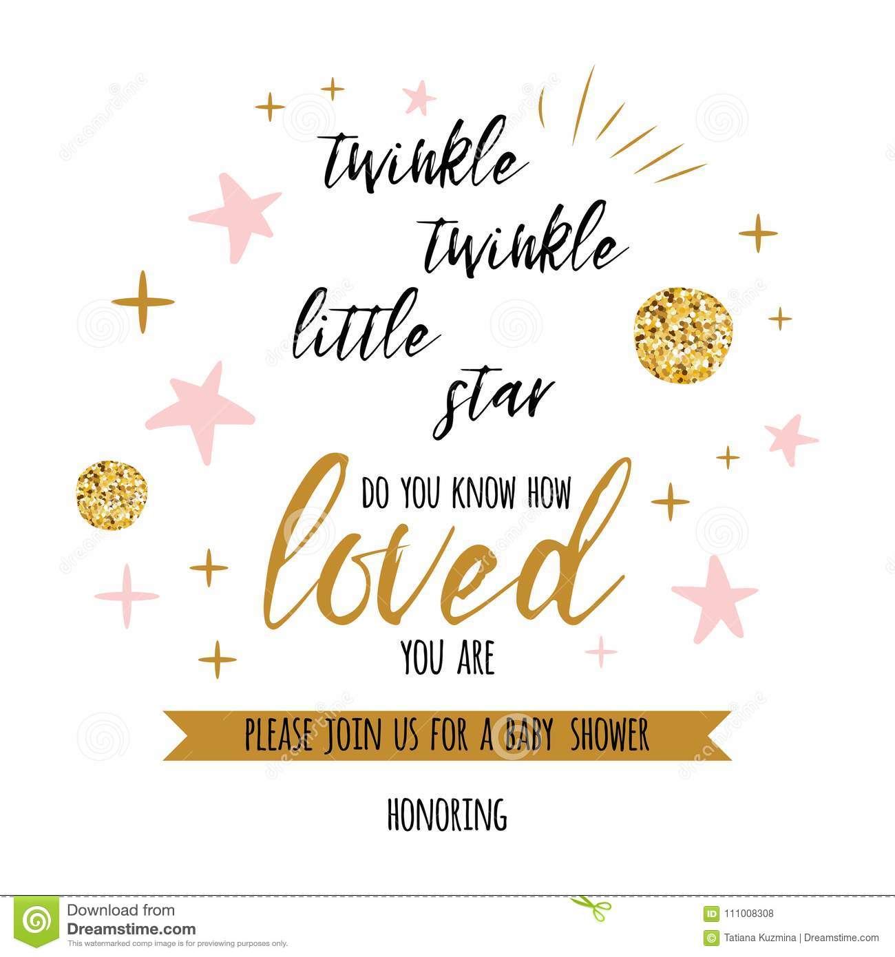 Twinkle Twinkle Little Star Text With Golden Oranment And Pink Star For Girl Baby Shower Card Template Stock Vector Illustration Of Bedtime Card 111008308