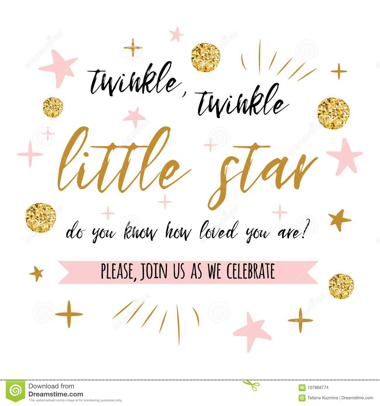 Twinkle Twinkle Little Star Text With Gold Polka Dot And Pink Star For Girl  Baby Shower Card Invitation Template Stock Vector - Illustration of happy,  design: 107968774