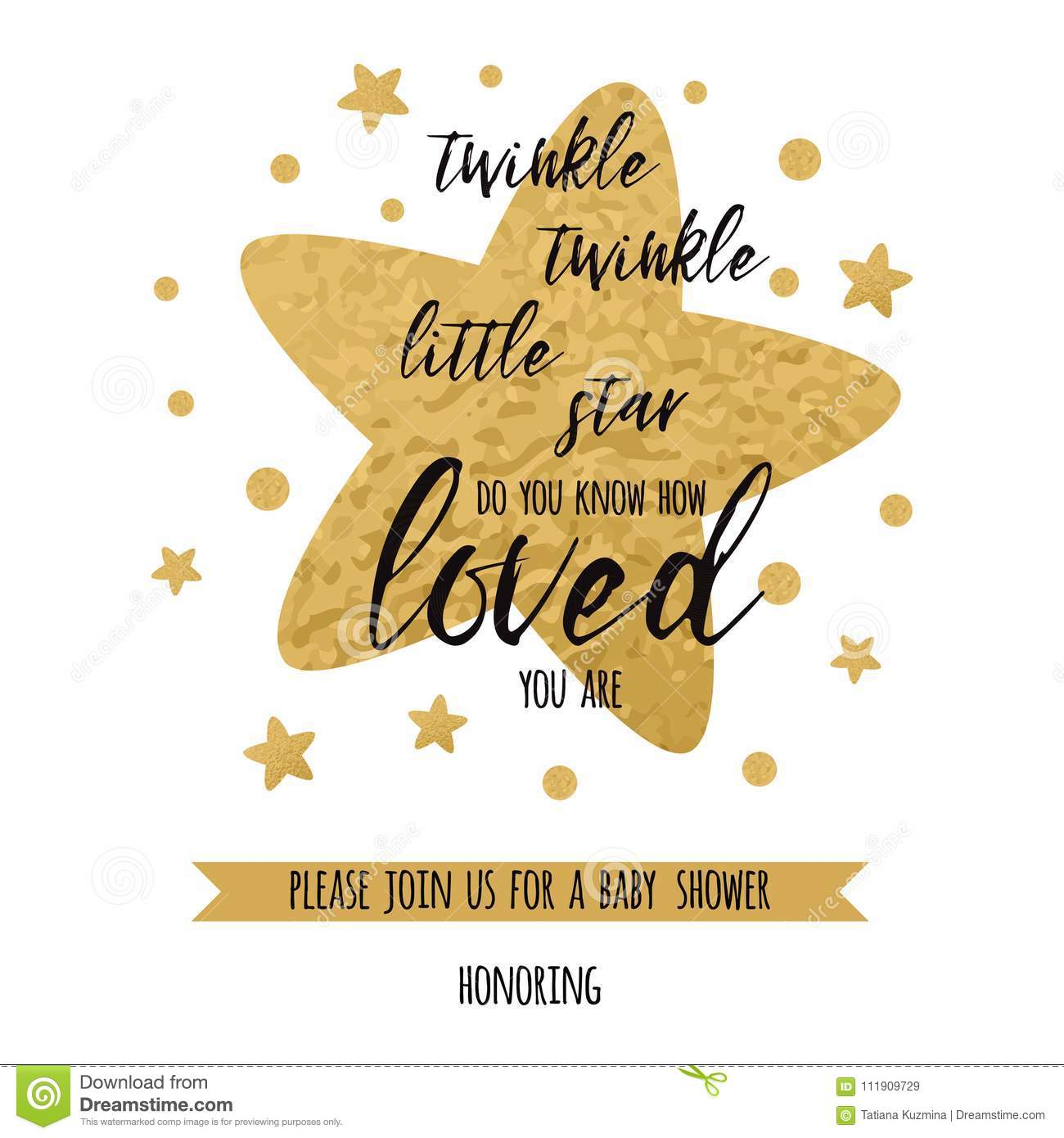 Twinkle Twinkle Little Star Text With Golden Oranment And Gold Star