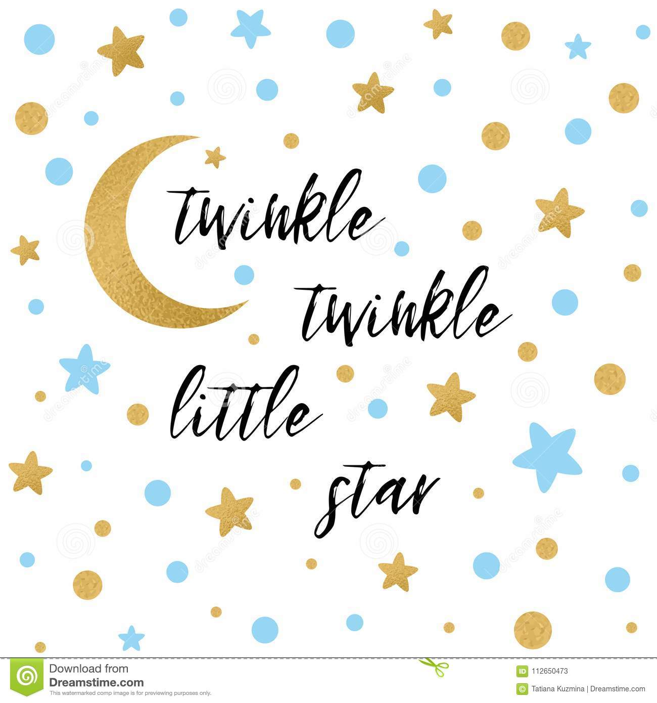 Twinkle Twinkle Little Star Text With Gold Blue Star And Moon For