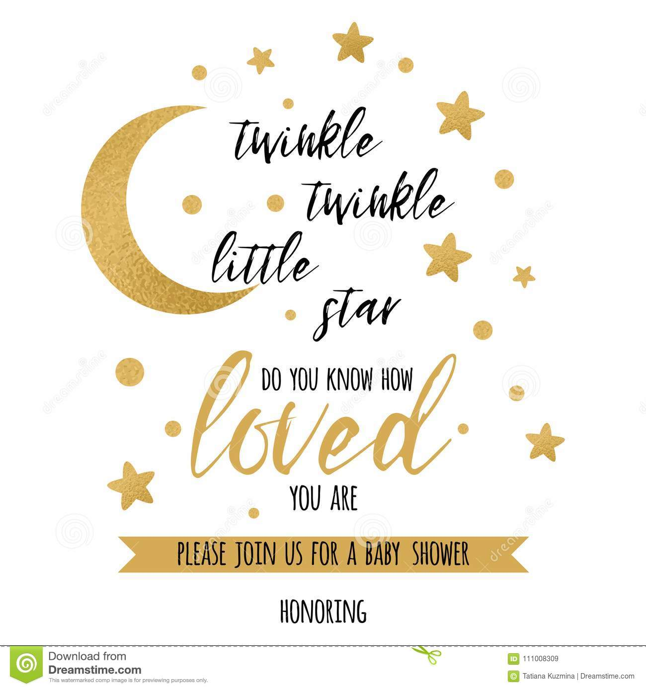 Twinkle Twinkle Little Star Text With Gold Star And Moon For