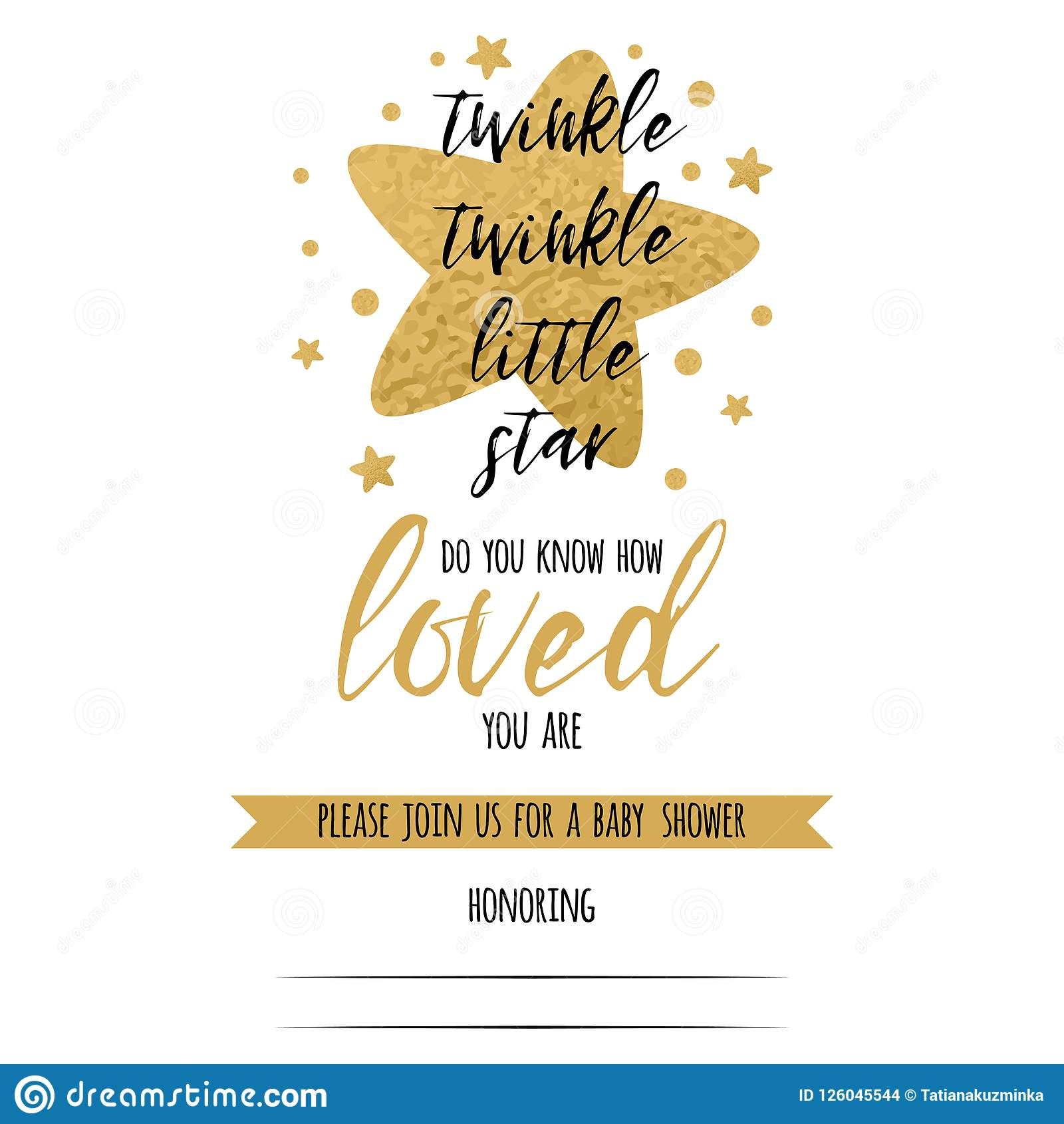 Twinkle Twinkle Little Star Text With Gold Stars For Girl Baby