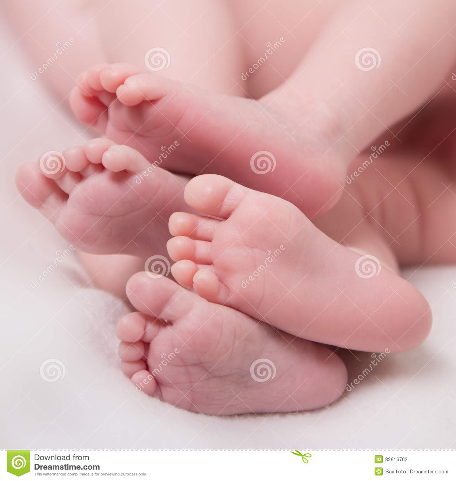 Twins Baby Feet Stock Photography Image 32616702