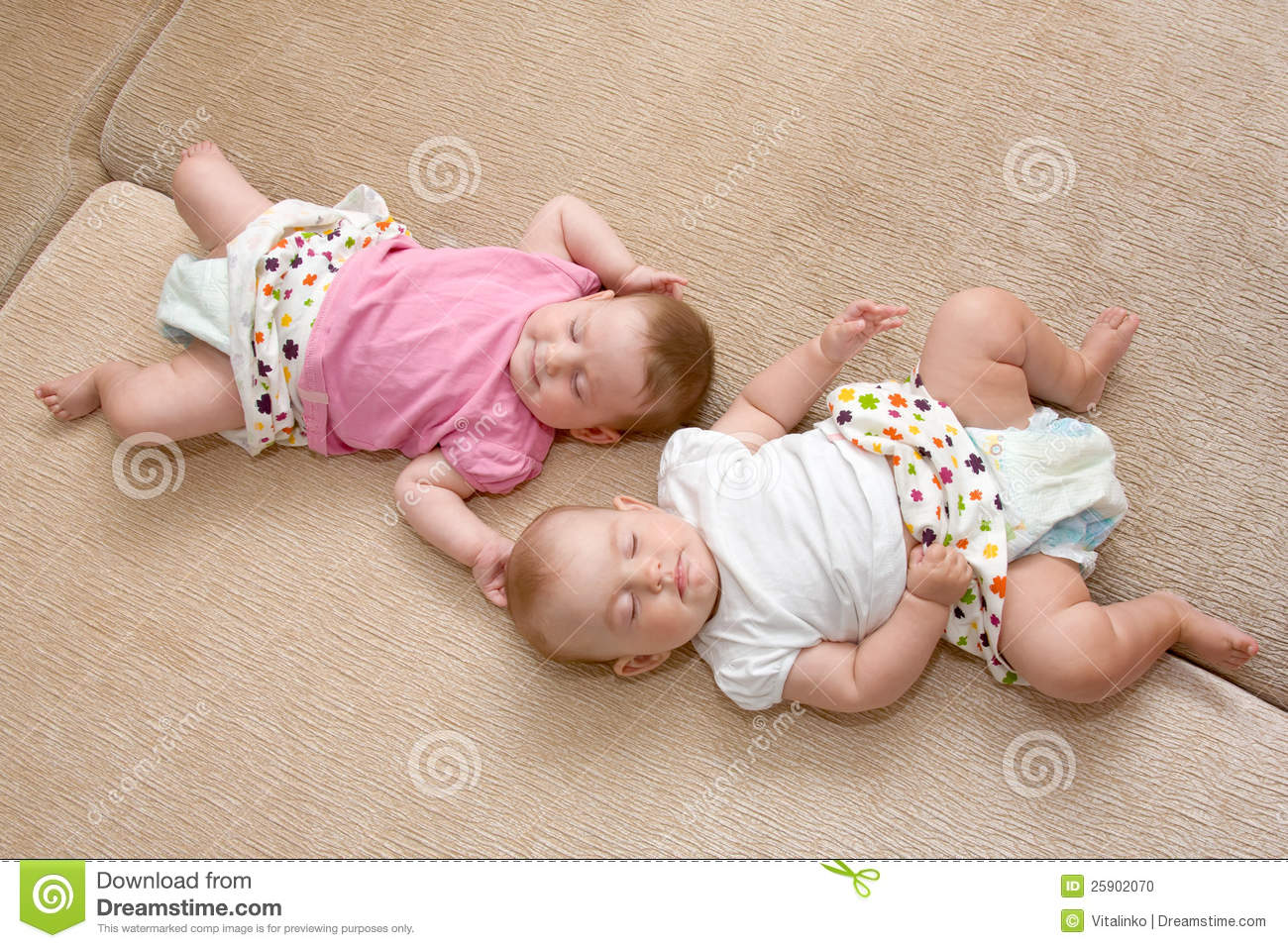 Twins baby girls sleeping stock photo. Image of concept ...