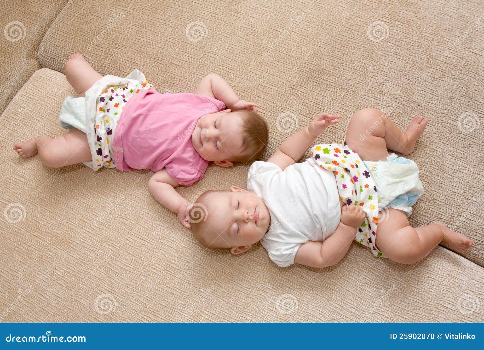 Twins Baby Girls Sleeping Stock Photo - Image: 25902070