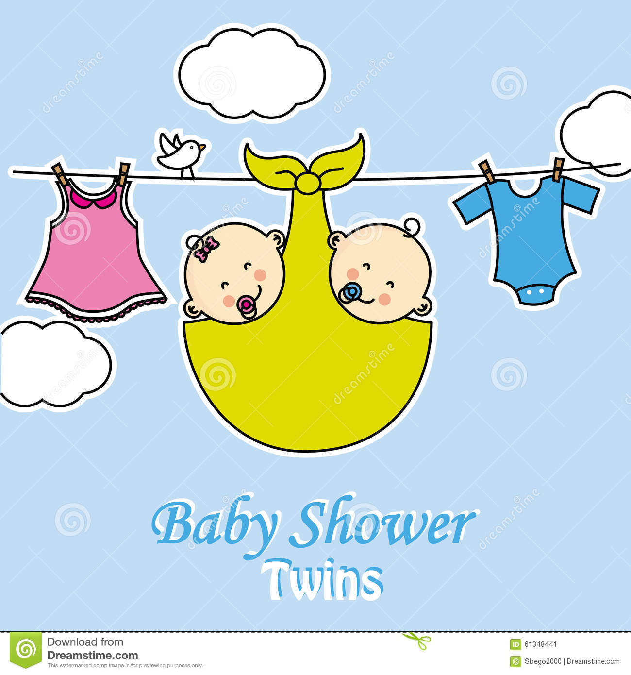 twins baby shower baby girl and boy with clothes hanging on the rack