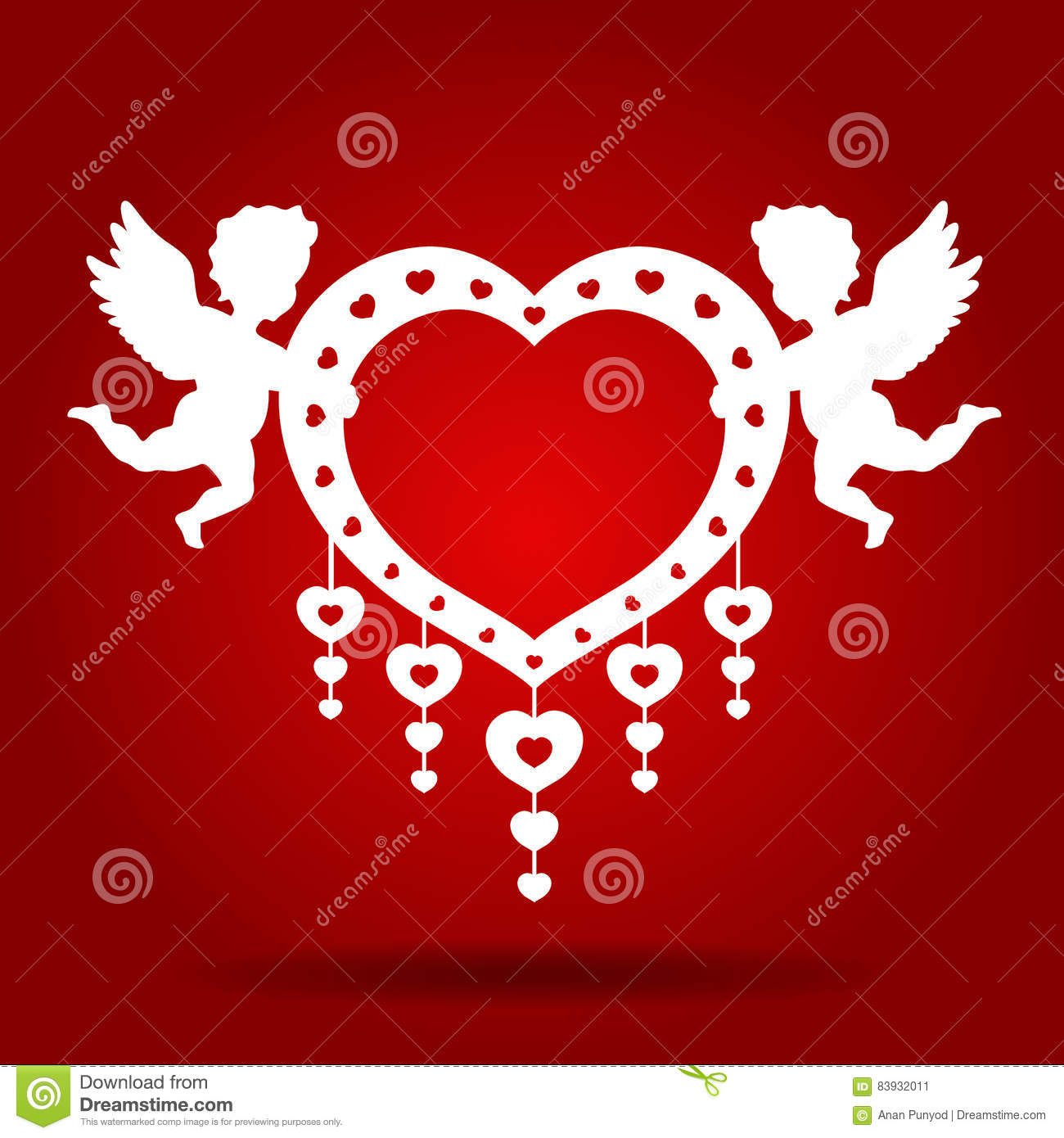 Twins Cupid Hold Heart On Red Background Vector Art Design