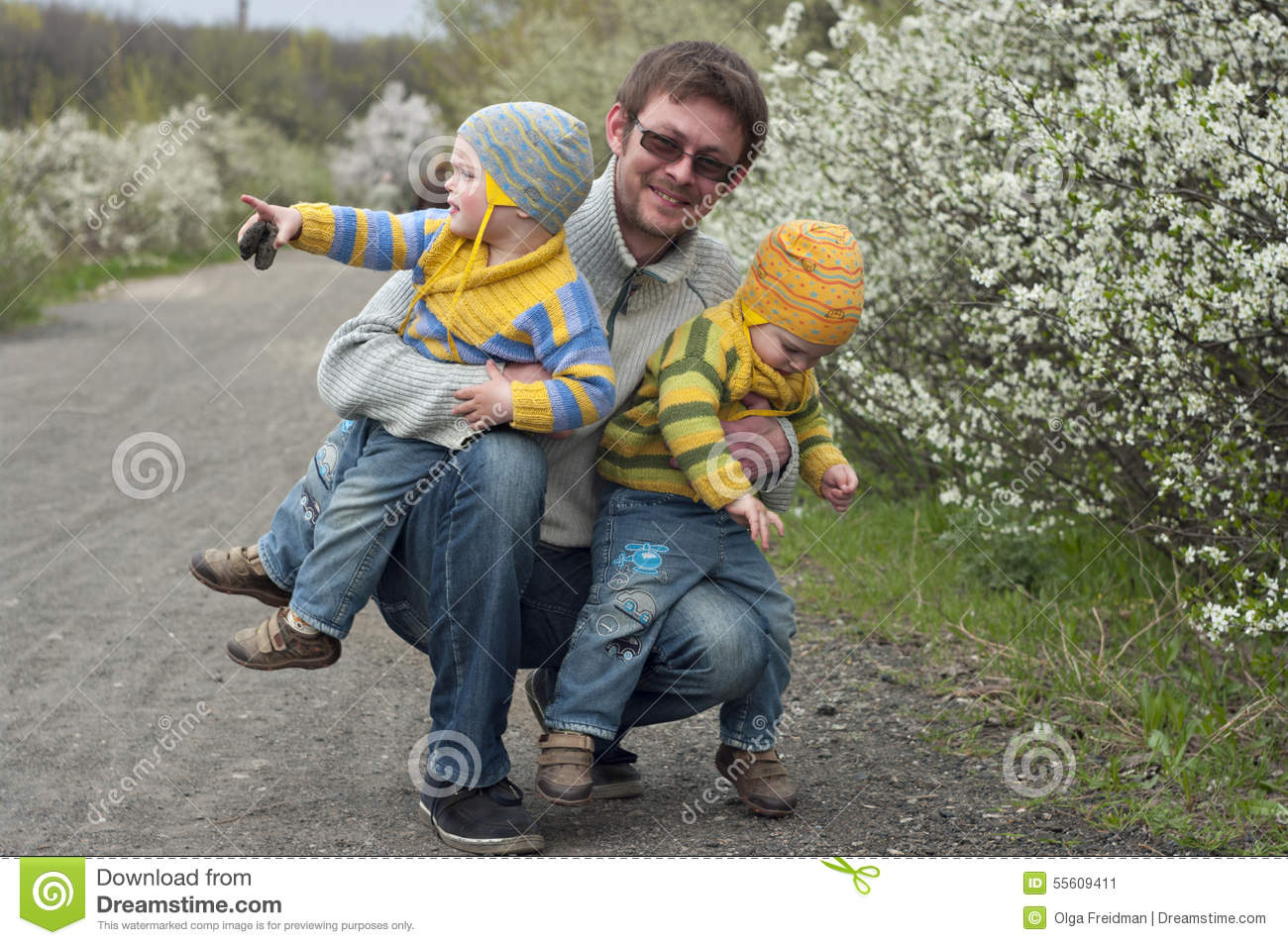 Twins with father
