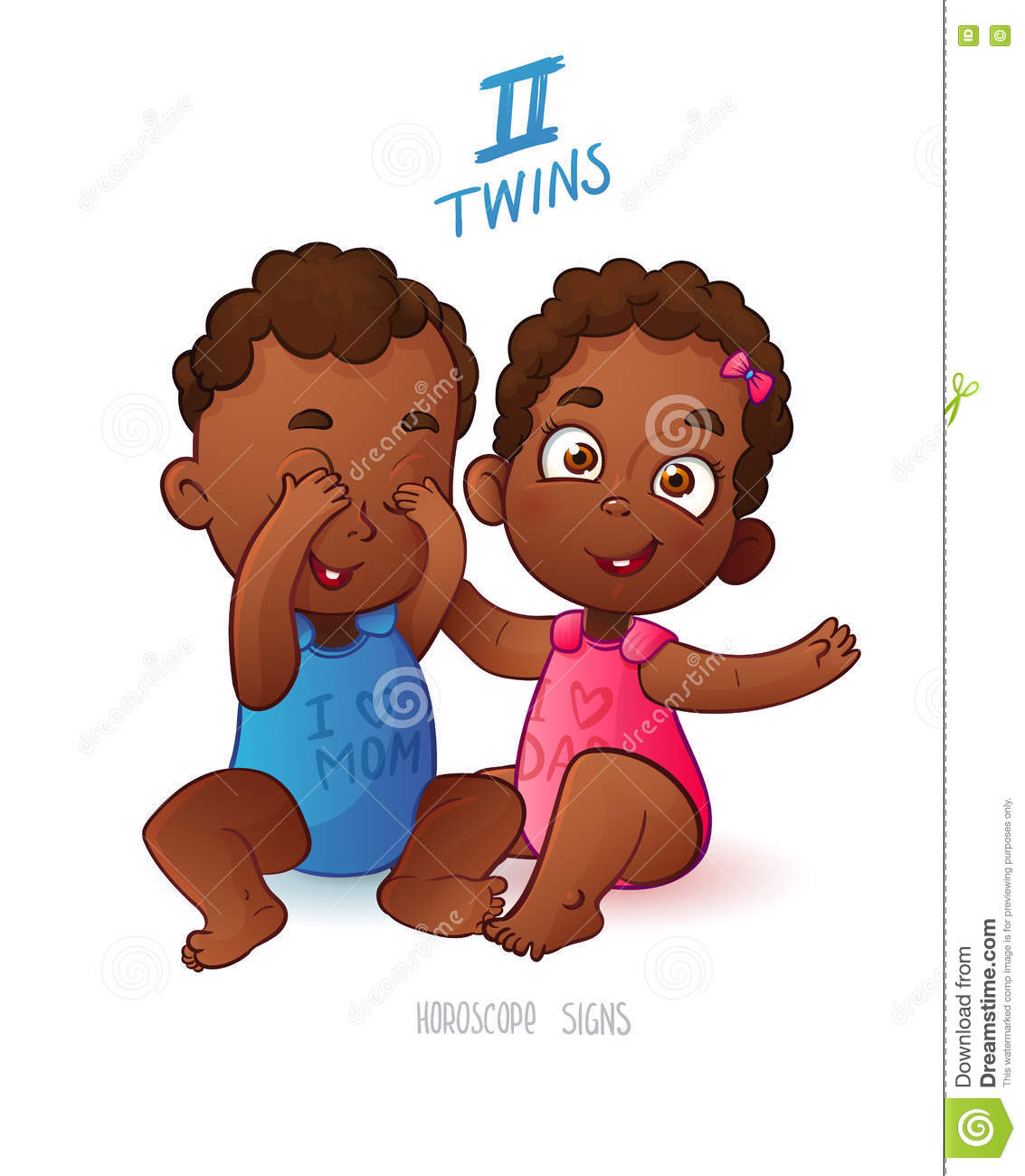 Twins horoscope sign two cartoon african american babies boy and girl playing each other