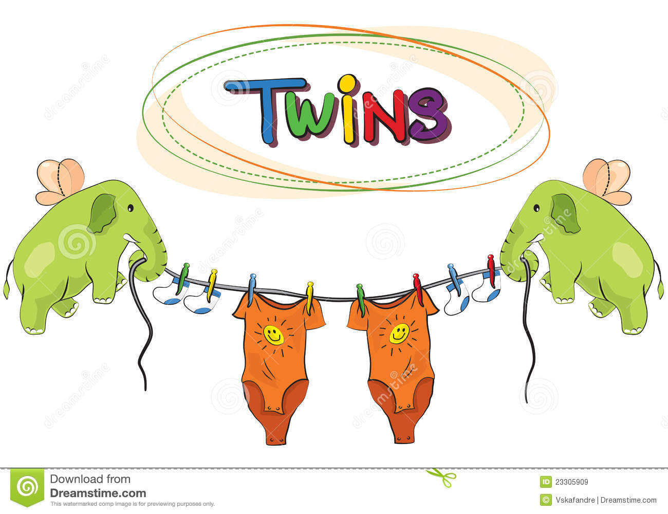 Royalty Free Stock Images: Twins Vector Template Invitation  Free Template Invitation