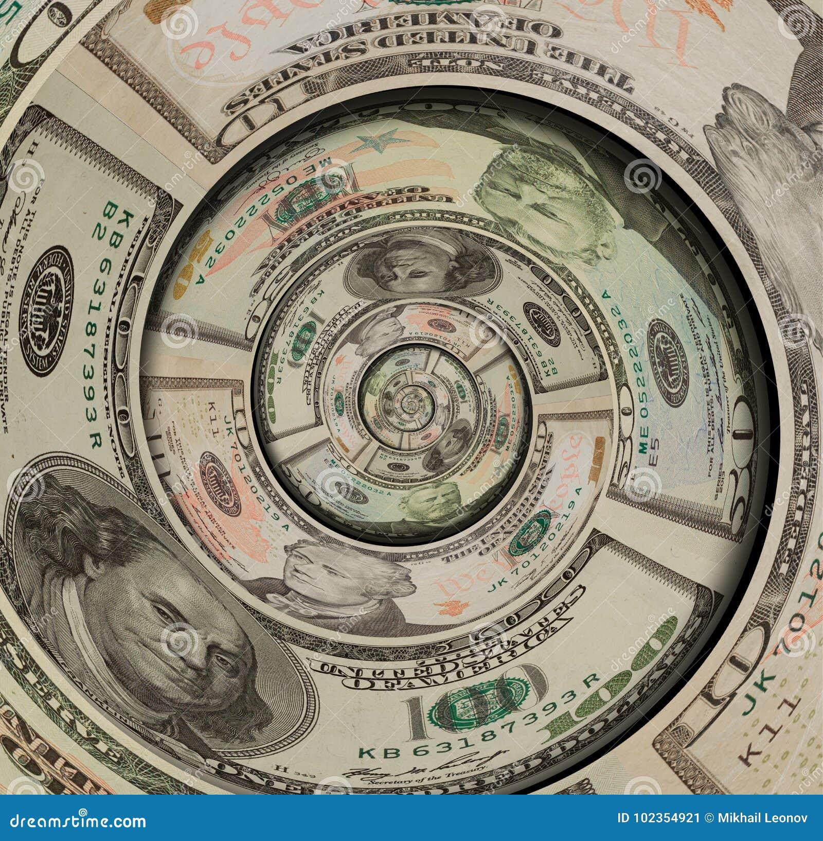 Twirl долларов США денег спиральный сделанный 100 50 10 долларов банкнот Доллары США абстрактной предпосылки Влияние денег спирал