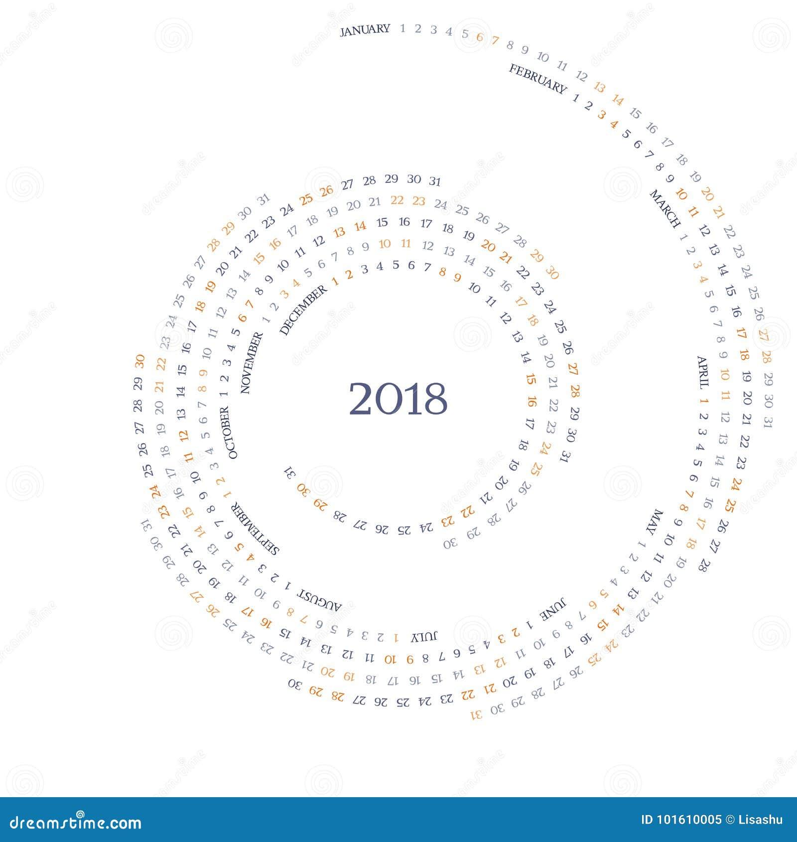 twirled vector calendar grid for 2018 year stock vector